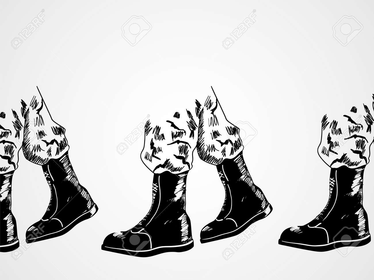 Sketch illustration of army boots lined up, marching. Invasion, war concept - 50794343
