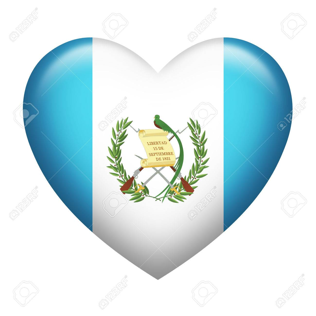 heart shape of guatemala flag isolated on white stock photo picture