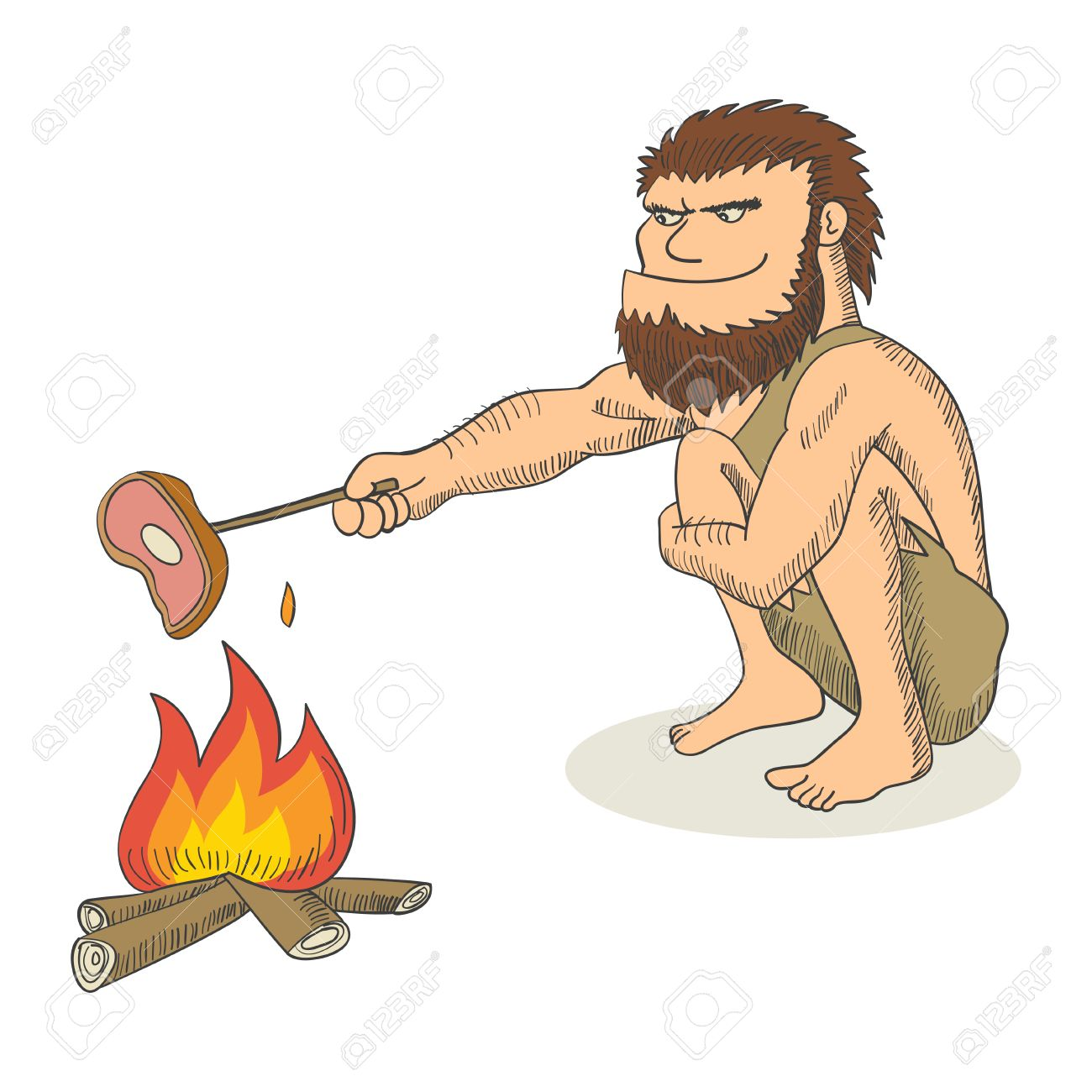 Cartoon illustration of a caveman cooking meat on fire - 52417241
