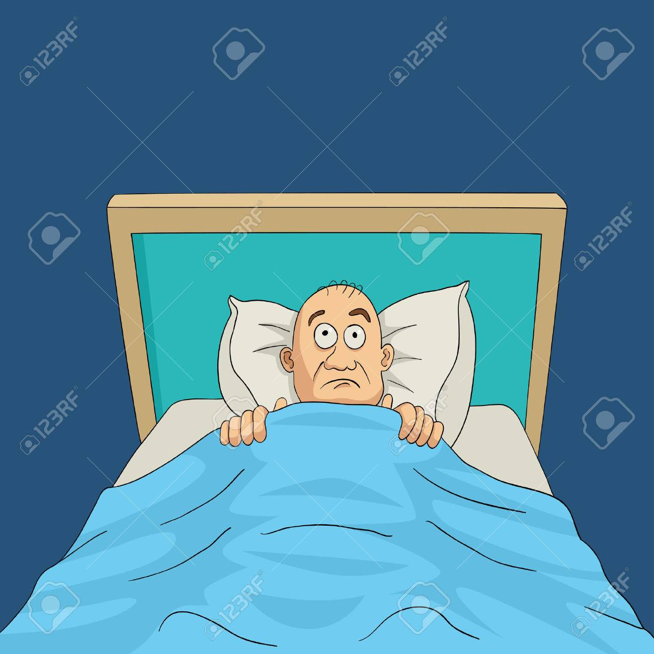 Cartoon illustration of a man on bed with eyes wide open, insomnia, nightmare theme - 52426355