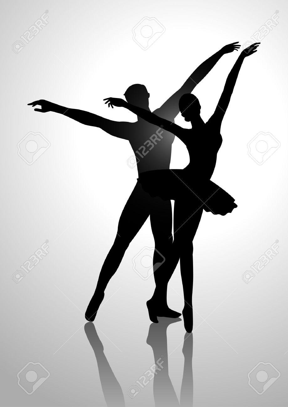 バレエを踊るカップルのシルエット イラスト ロイヤリティフリー