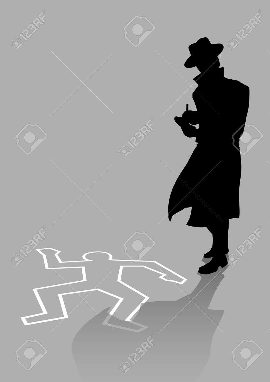 Silhouette illustration of a detective on crime scene - 54202447