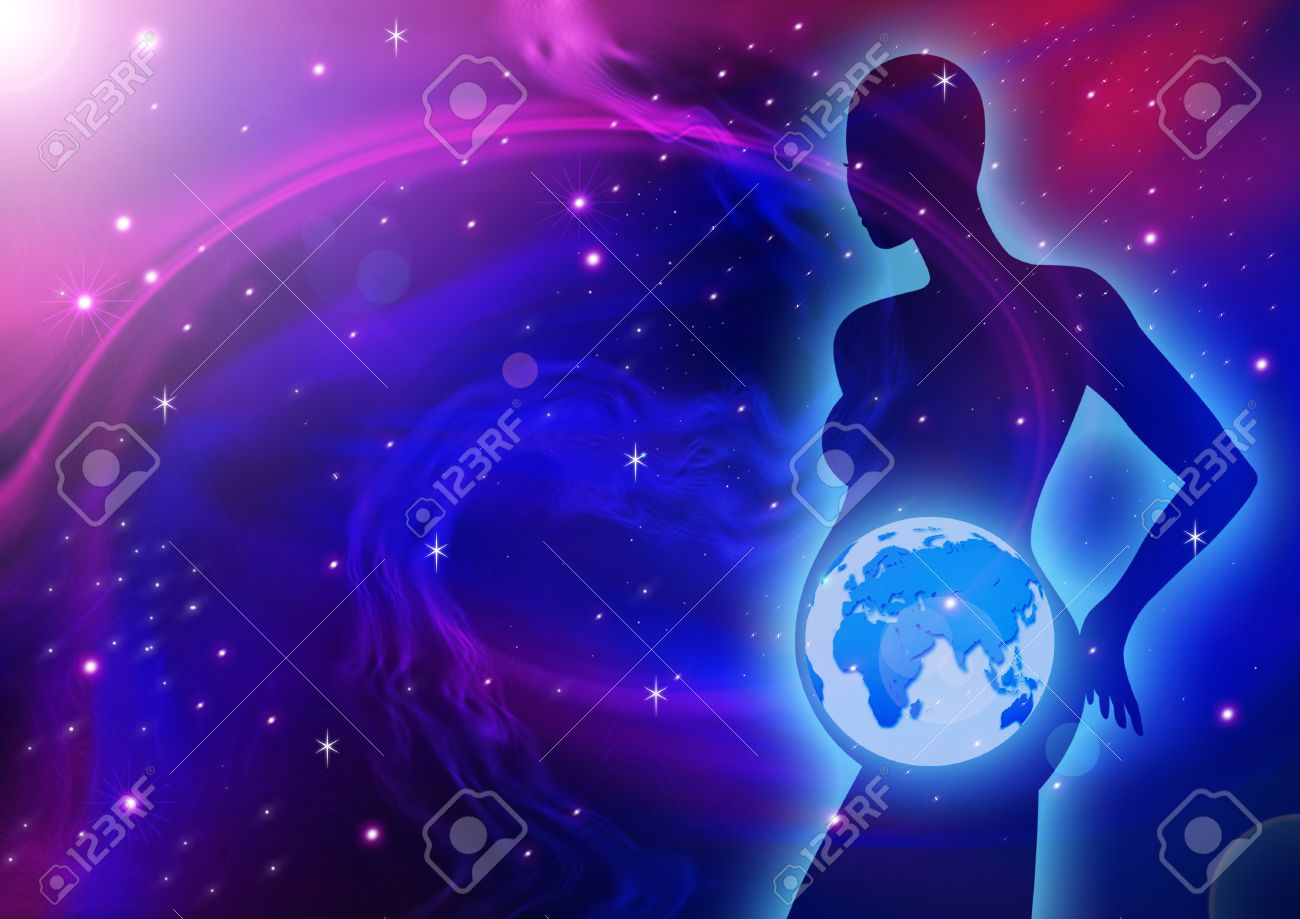 Silhouette of a pregnant female figure with planet Earth in her womb - 54202635