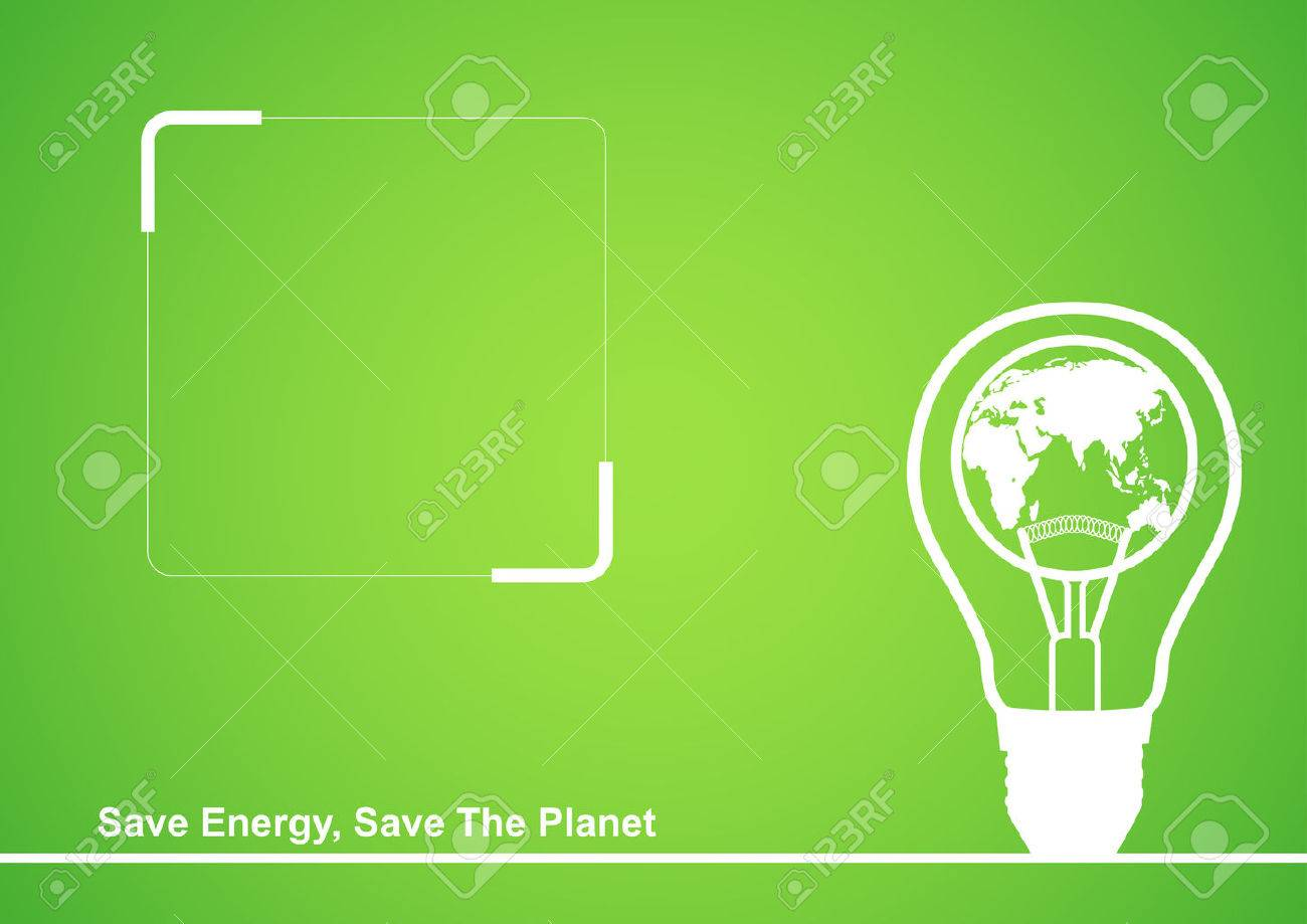 Line art illustration of a light bulb with earth globe in it, cover design template with copy space - 54202878