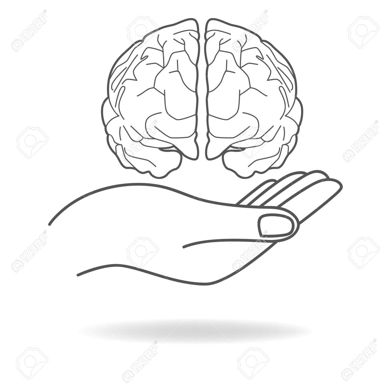 Icon of a hand holding a human brain - 54909371