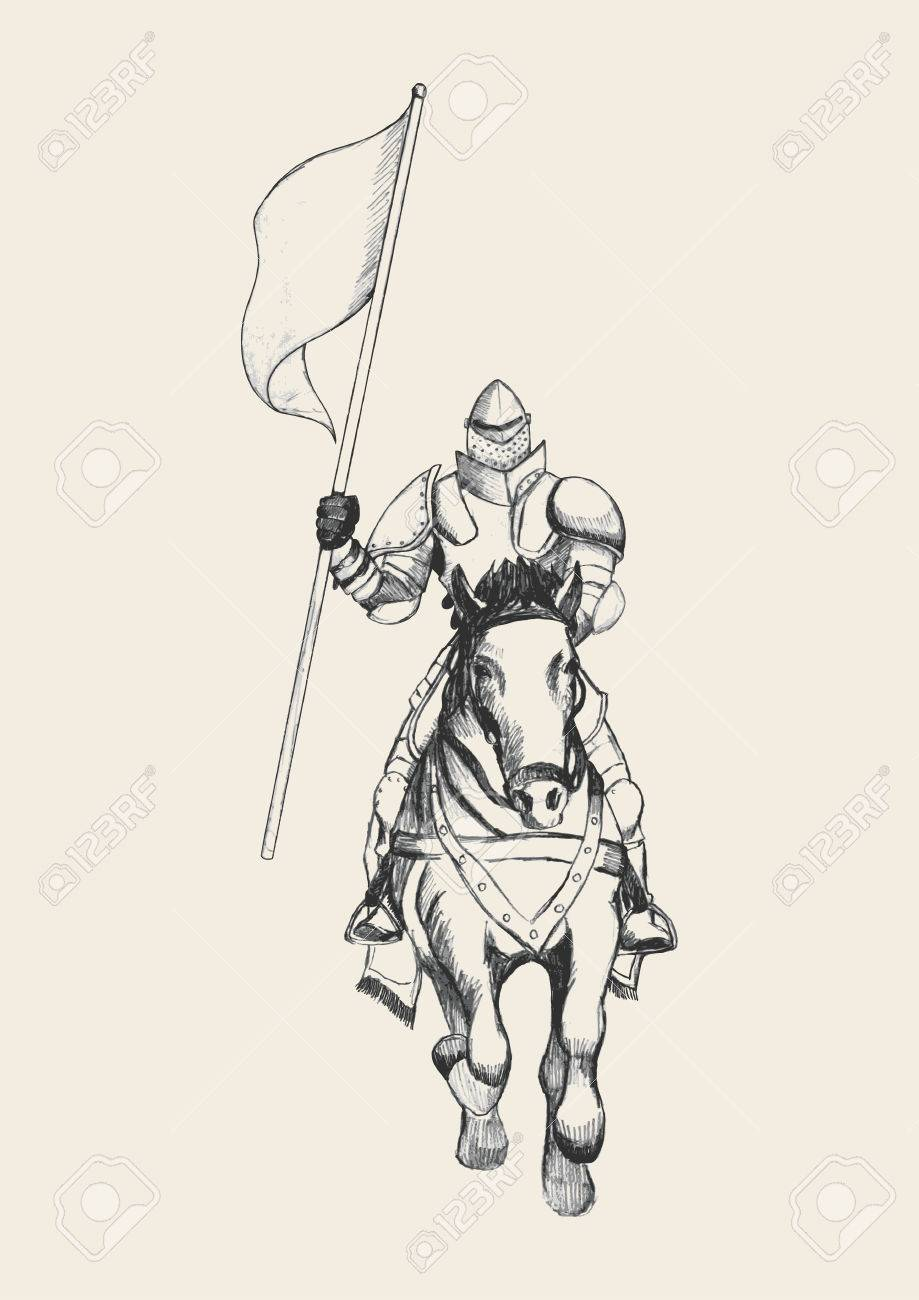 Sketch Illustration Of A Medieval Knight On Horse Carrying A Royalty Free Cliparts Vectors And Stock Illustration Image 55904721