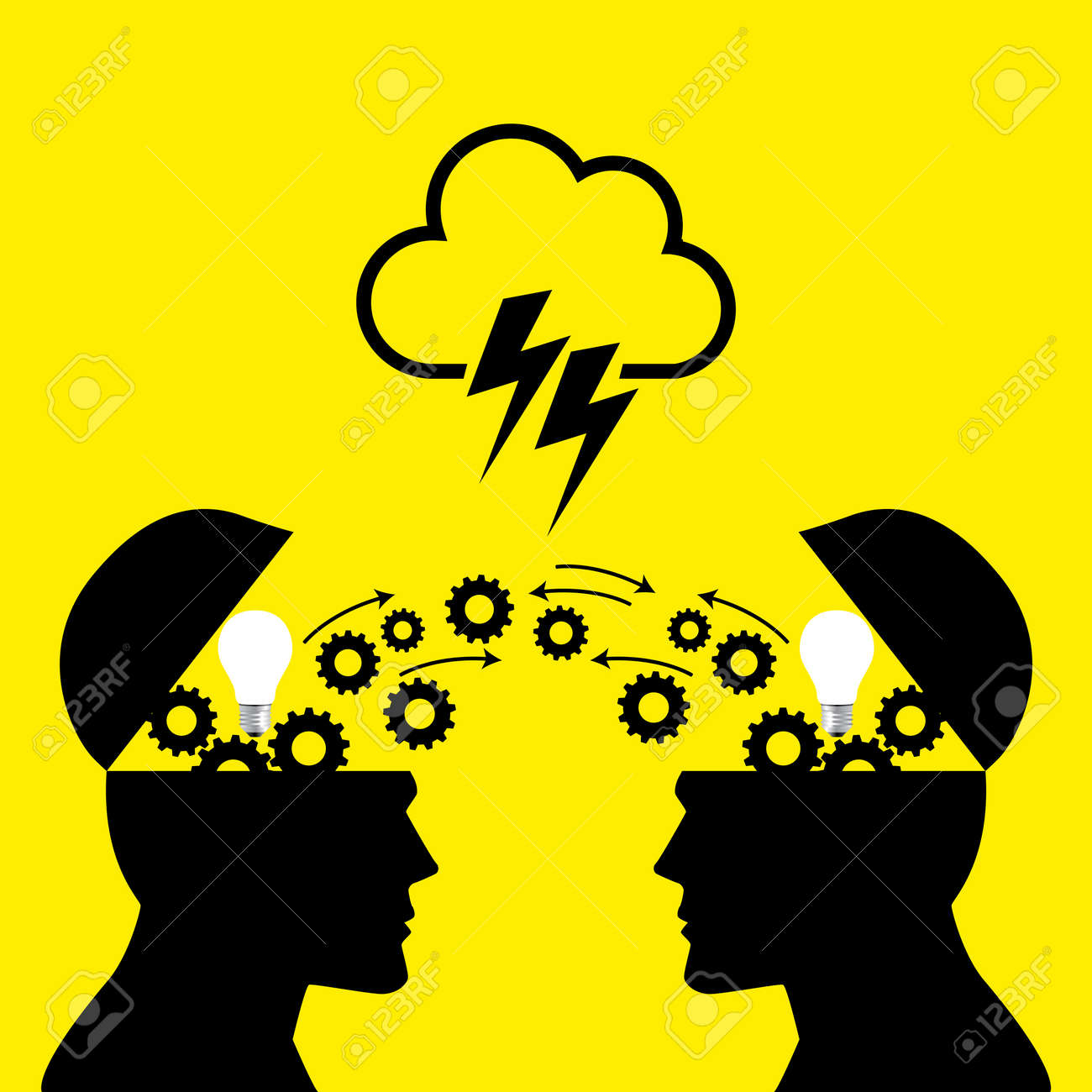Knowledge or ideas sharing between two people head, transferring knowledge, innovation, brain storming concept - 56171014