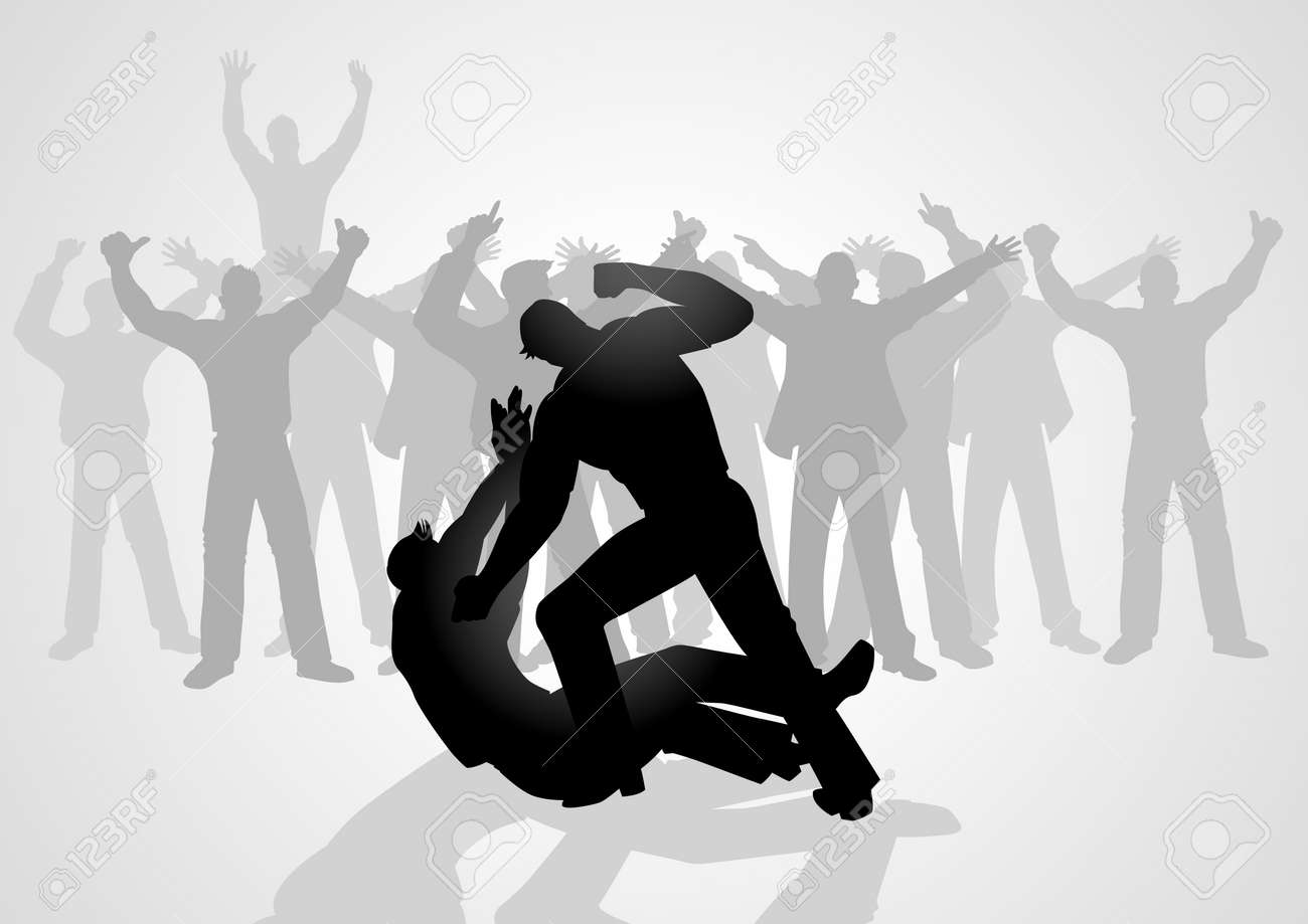Silhouette illustration of men fighting being watch by crowd of people - 57158611