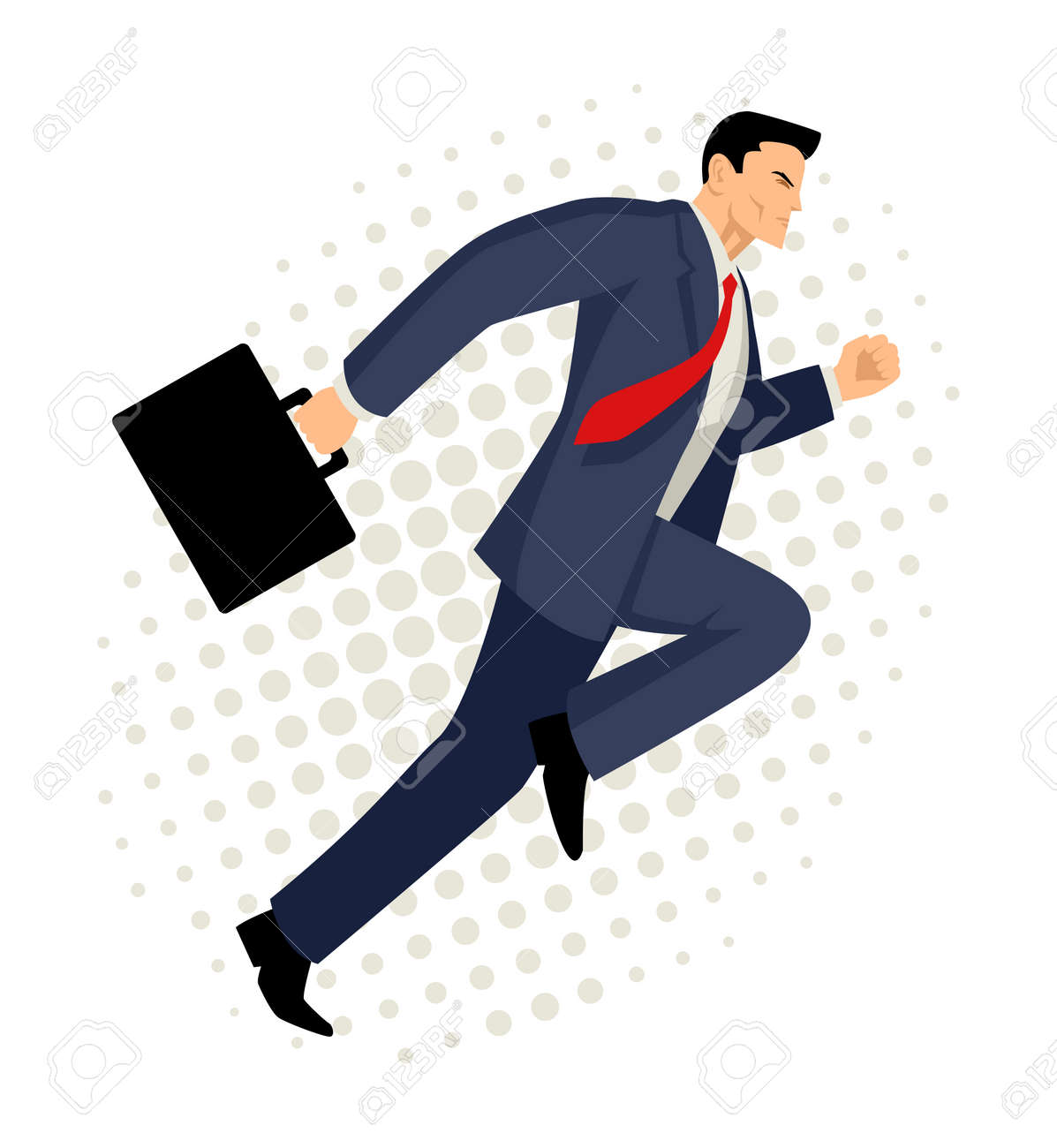 Cartoon illustration of a businessman running with briefcase, business, energetic, dynamic concept - 58217067
