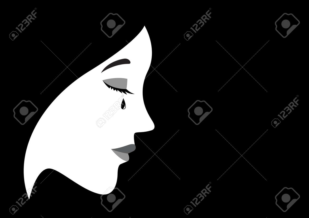 Graphic illustration of a crying woman - 58622246