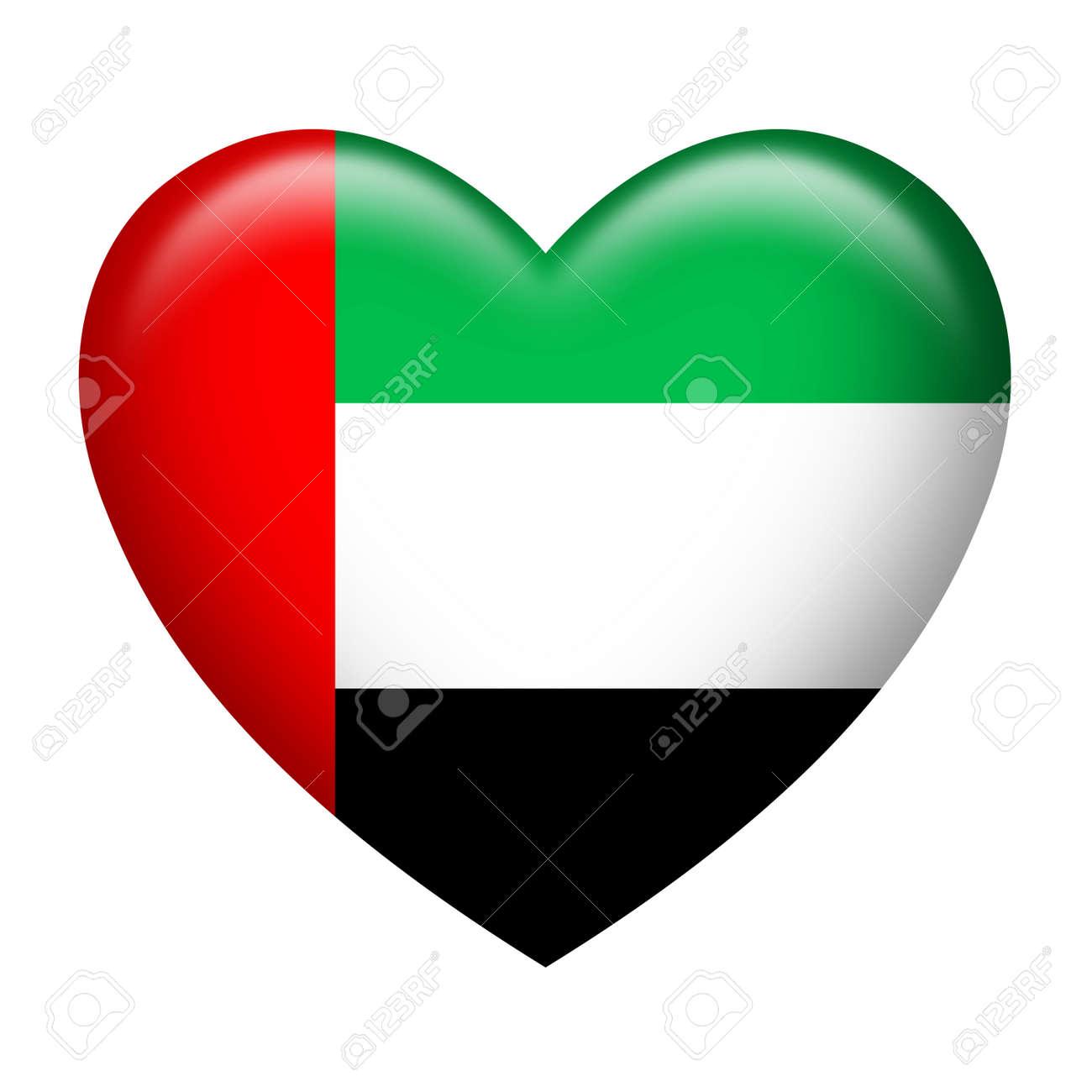 heart shape of united arab emirates flag isolated on white stock