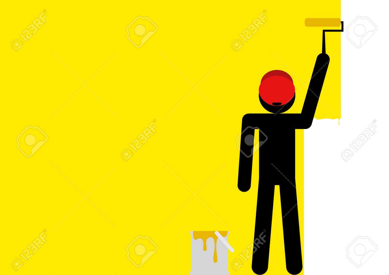 Graphic Illustration Of A Stick Figure Painting The Wall Yellow ...