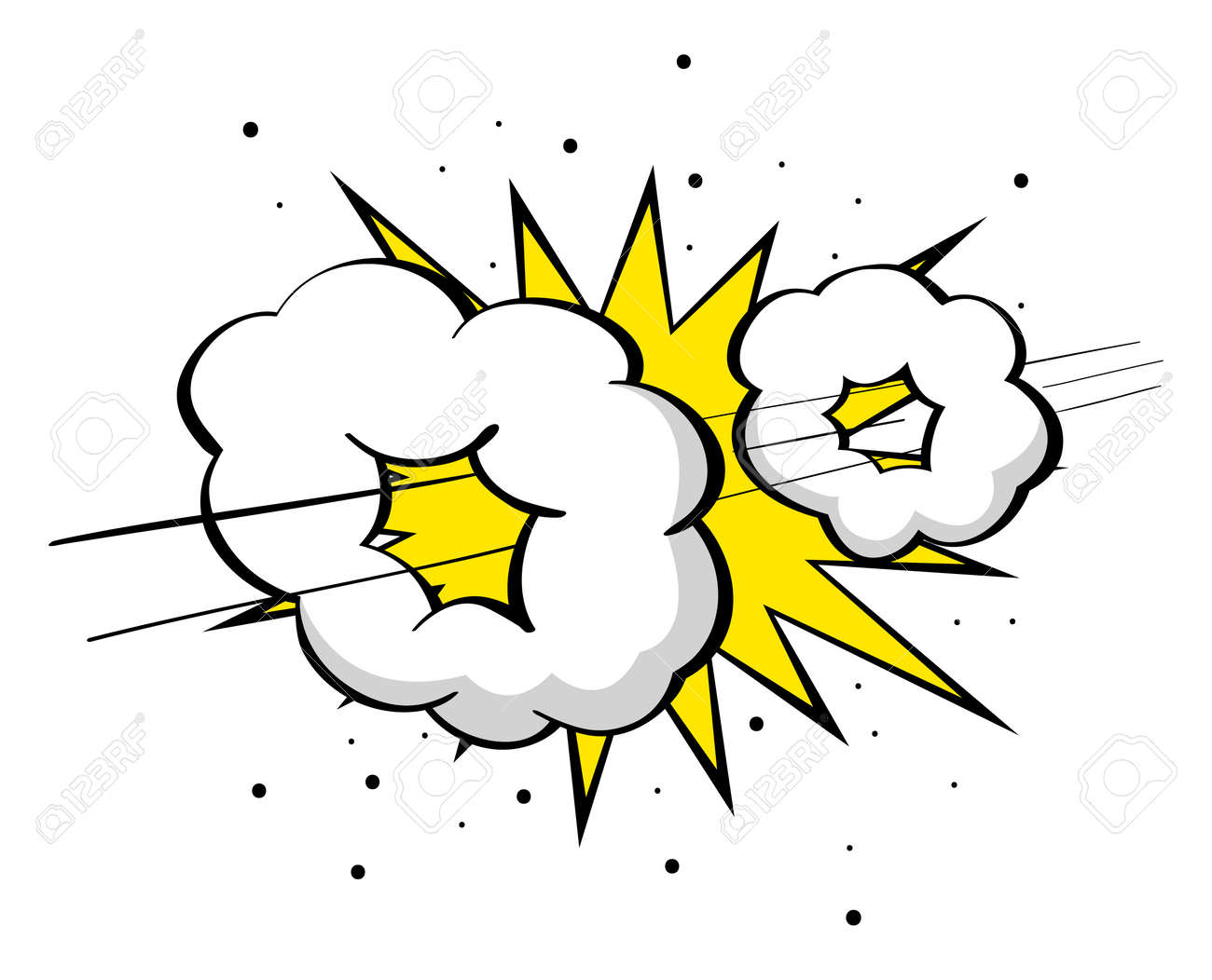超音速ブーム高速のイラストを漫画喜劇的な効果を高速化のイラスト