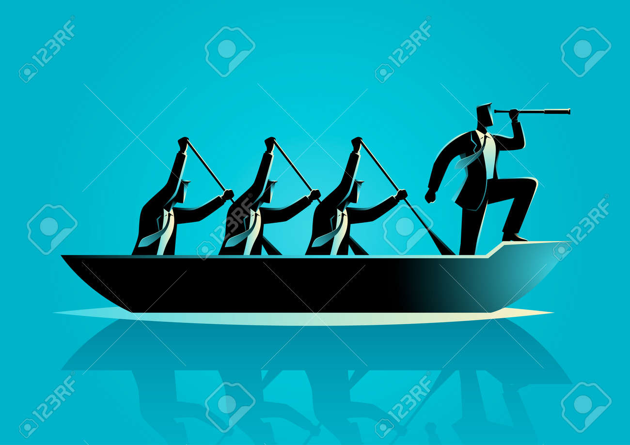 Silhouette illustration of businessmen rowing the boat, teamwork, success, leadership in business concept - 63394666