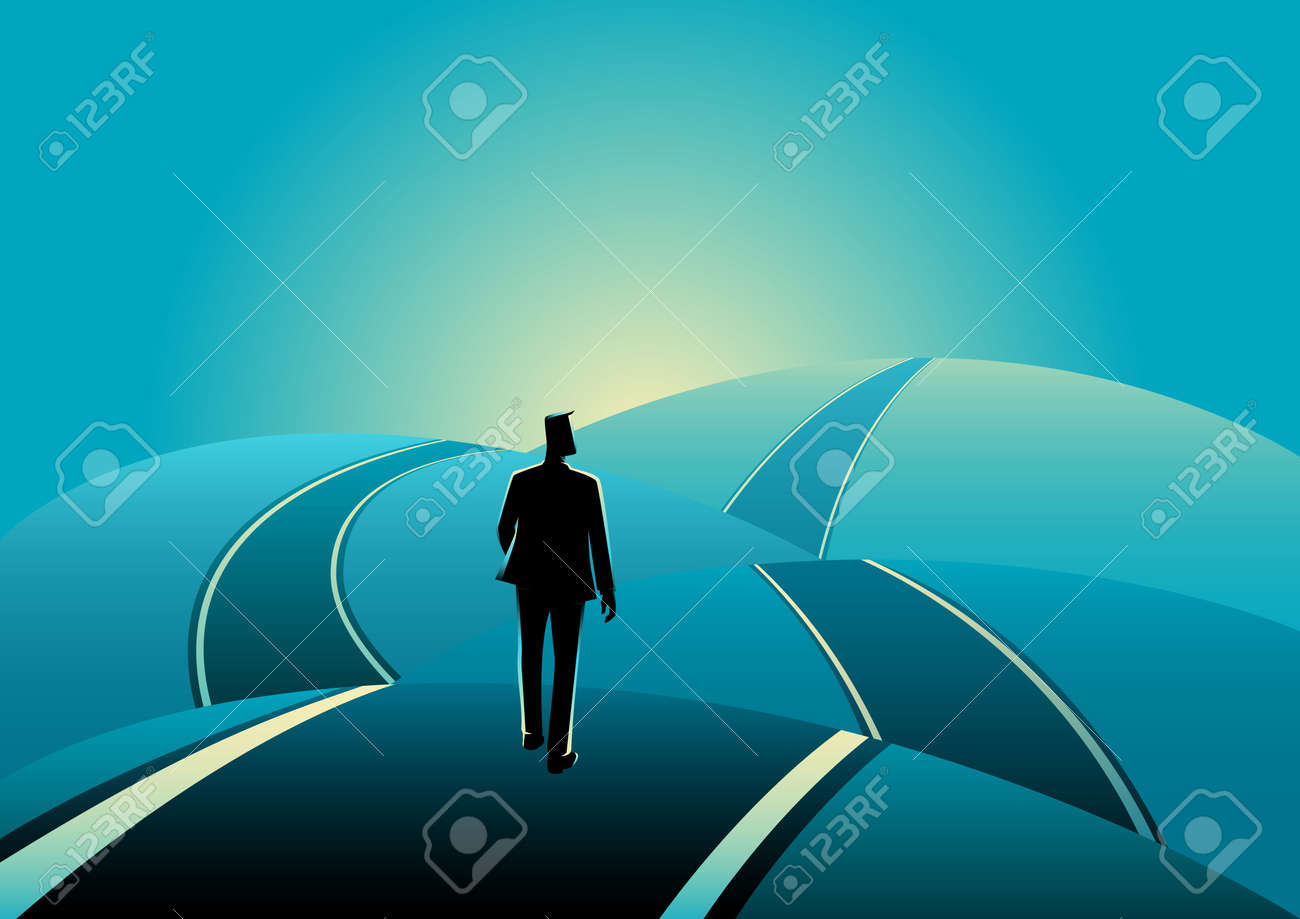 Business concept illustration of a businessman standing on the asphalt road over the hills - 64990962