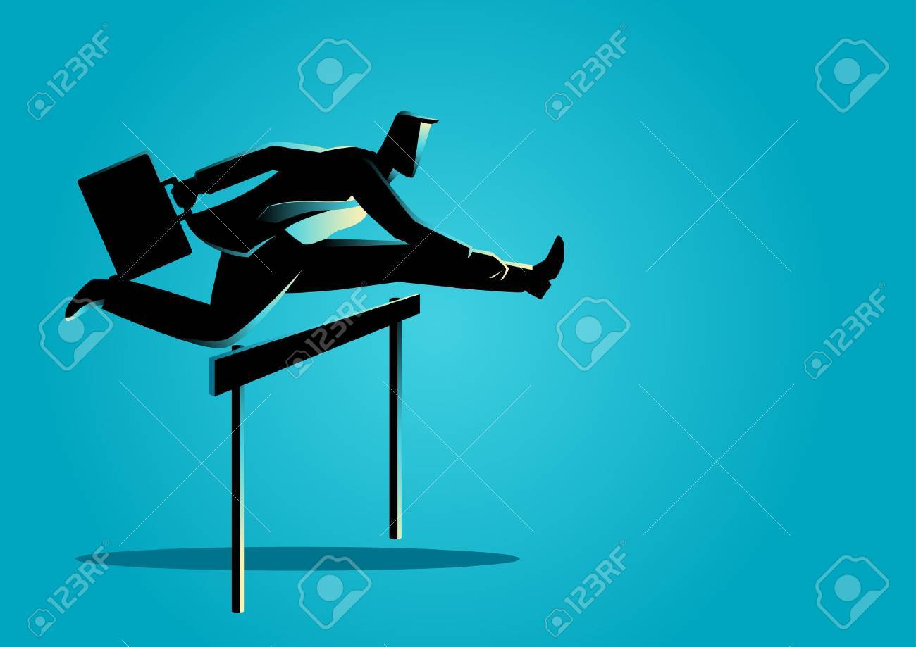 Silhouette illustration of a businessman running with briefcase, business, obstacle, energetic, dynamic concept - 64990977