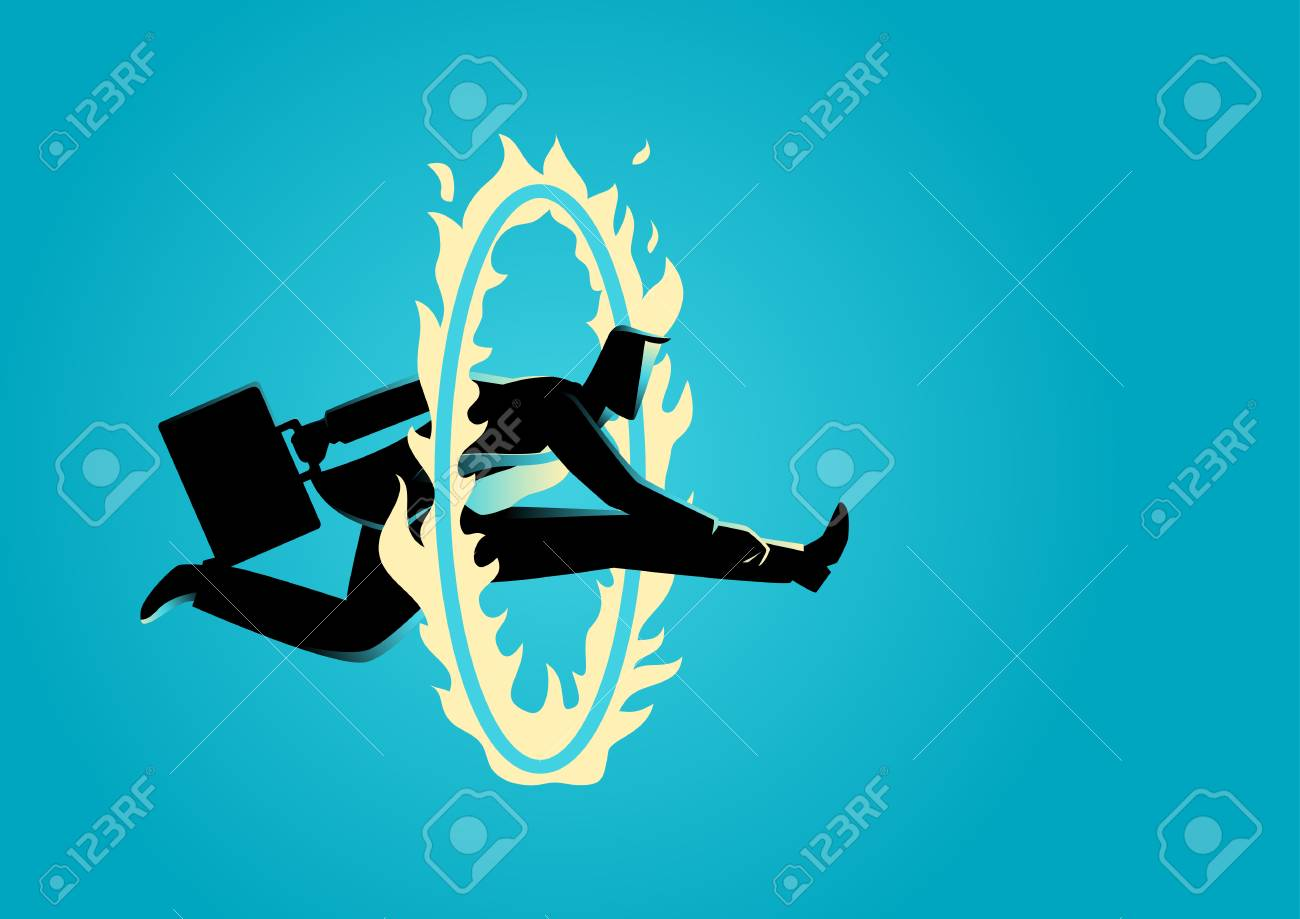 Business concept illustration. Businessman jumping through fire circle, challenge, obstacle, skillful concept - 64990982