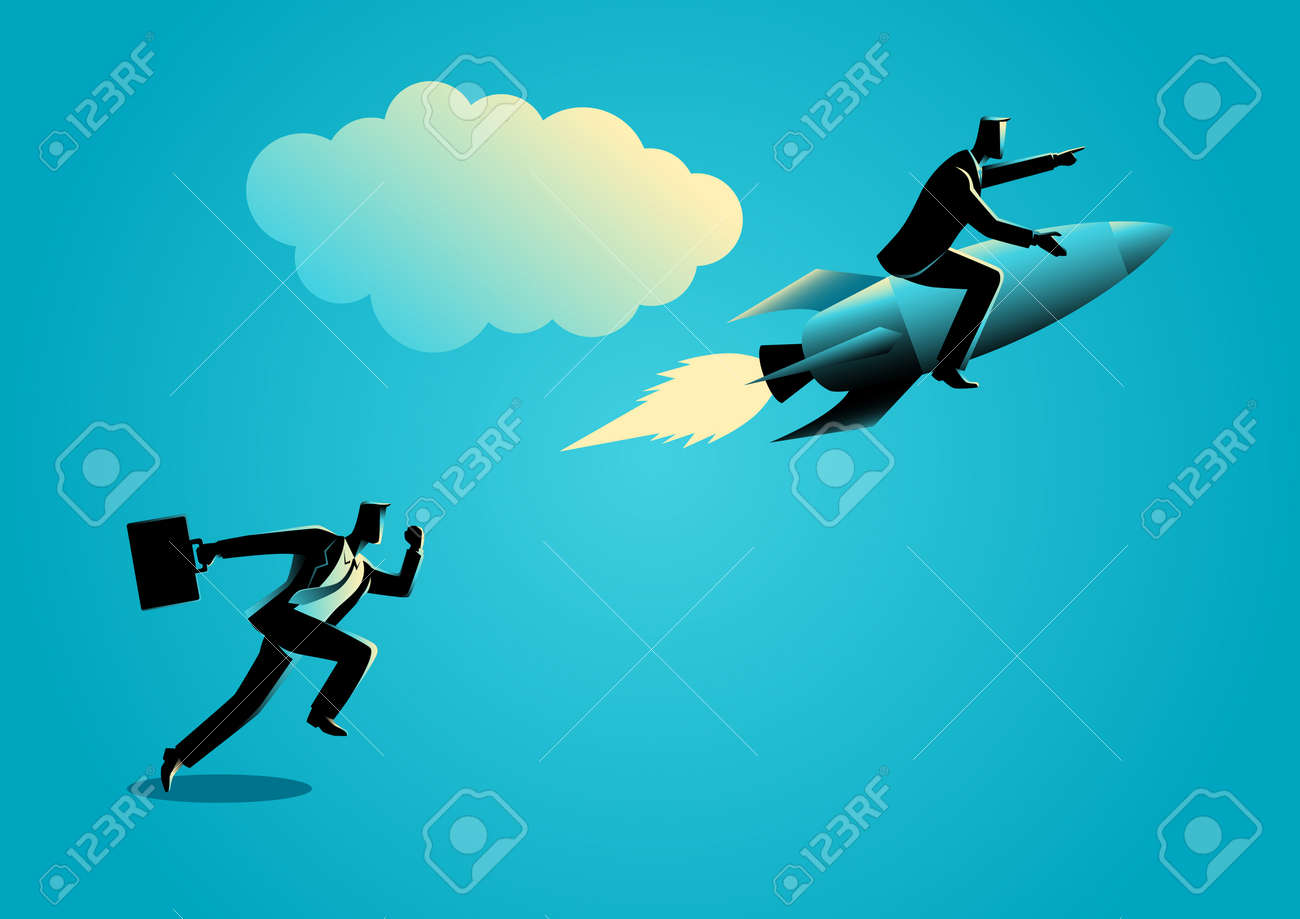 Business concept illustration of a running businessman racing with a businessman on rocket - 66353070