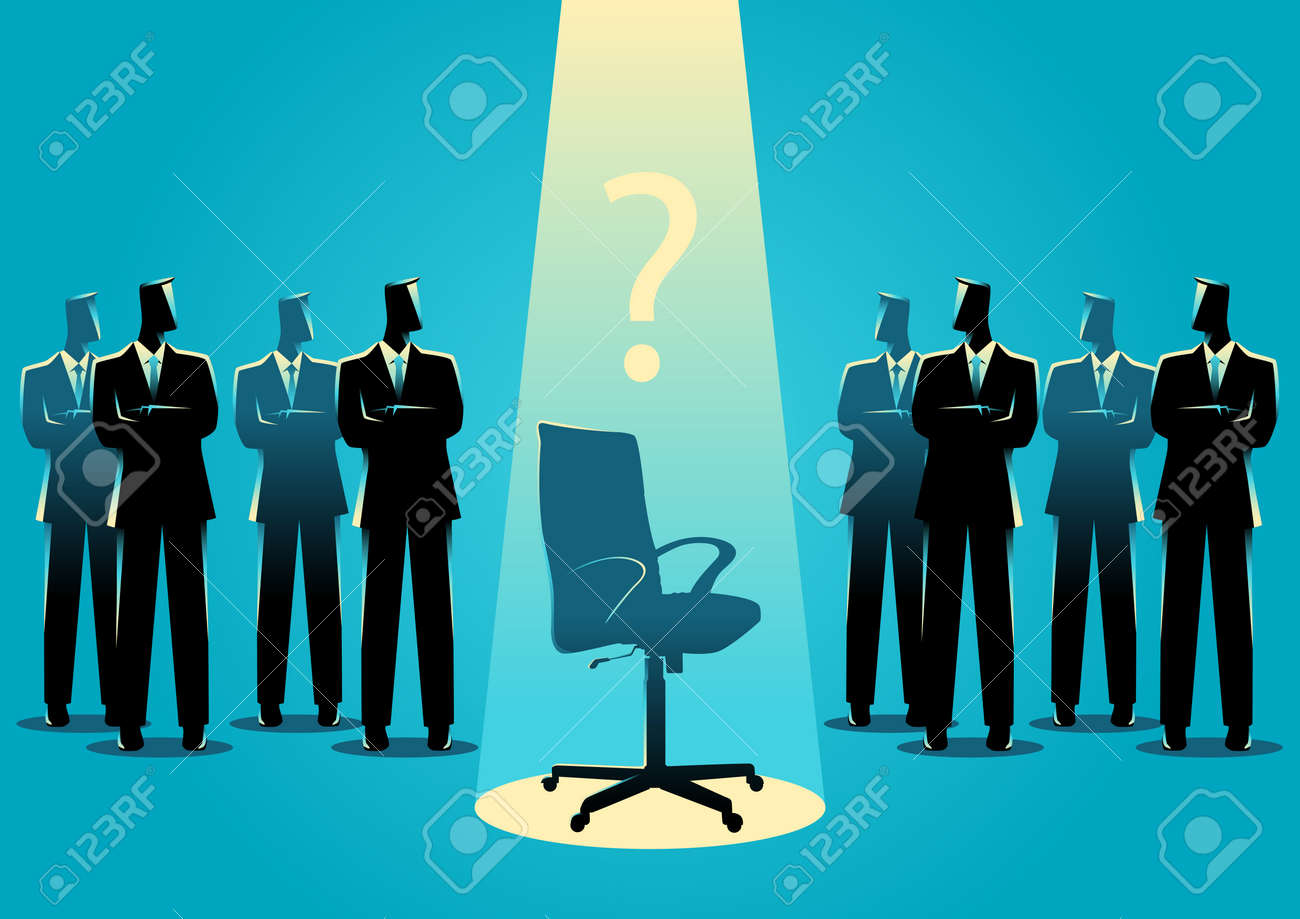 Business concept illustration of businessmen standing with empty chair in the middle, candidate, promotion, career position concept. - 66950503