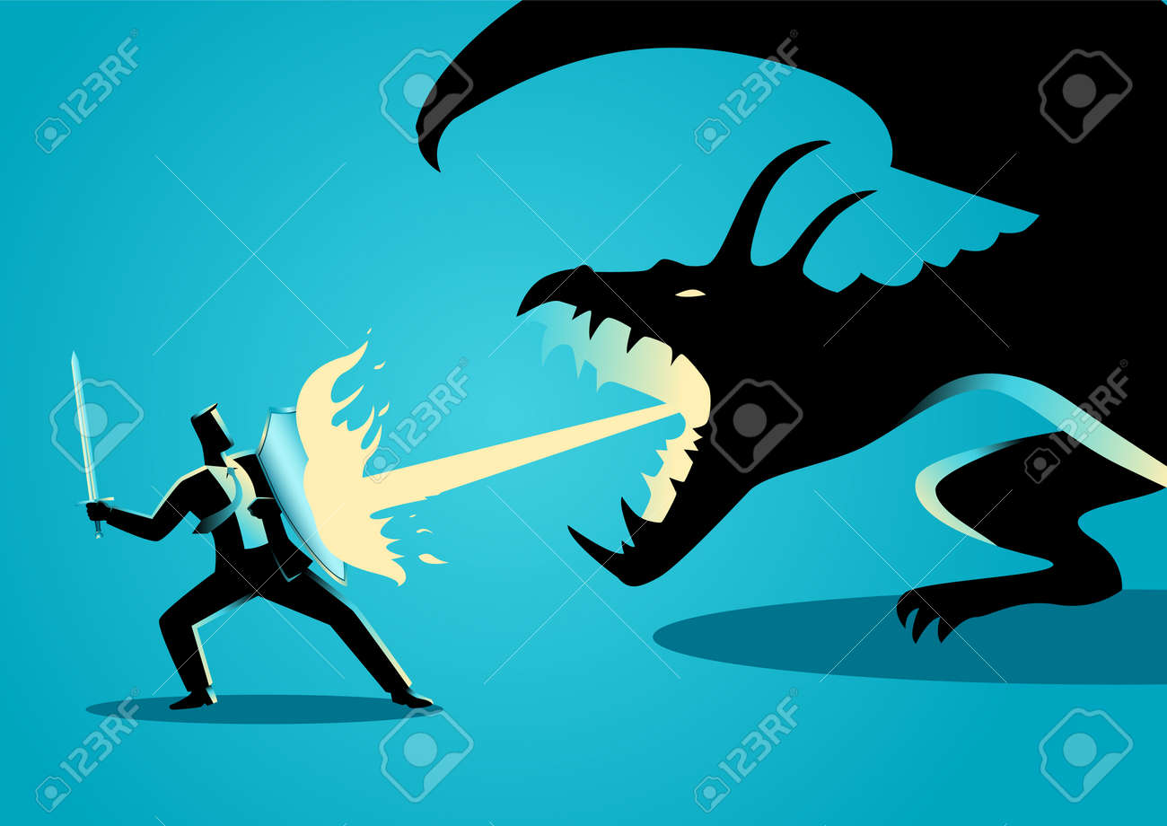 Business concept illustration of a businessman fighting a dragon. Risk, courage, leadership in business concept - 67106515