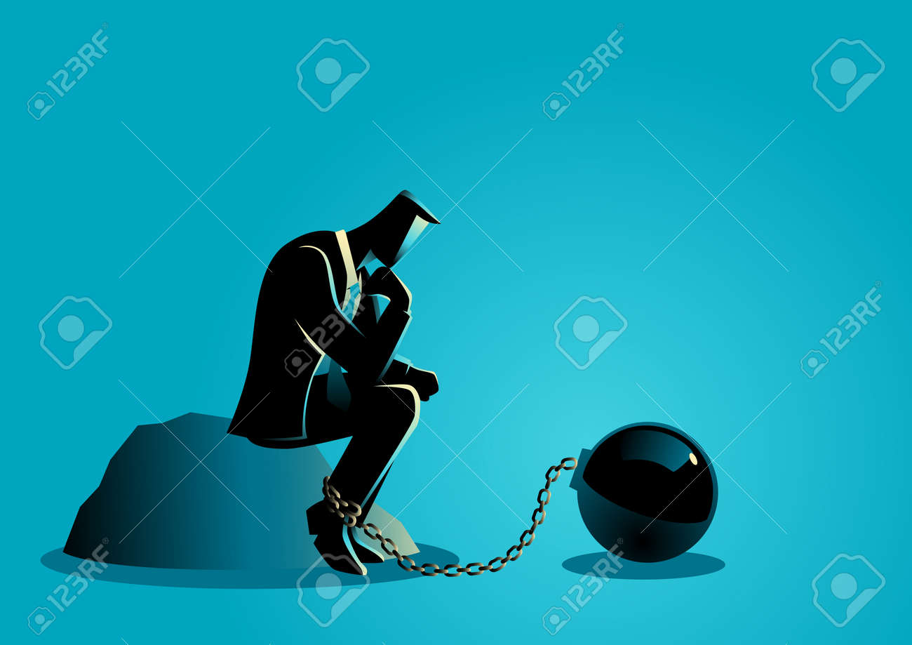 Business concept illustration of a chained businessman - 75089246