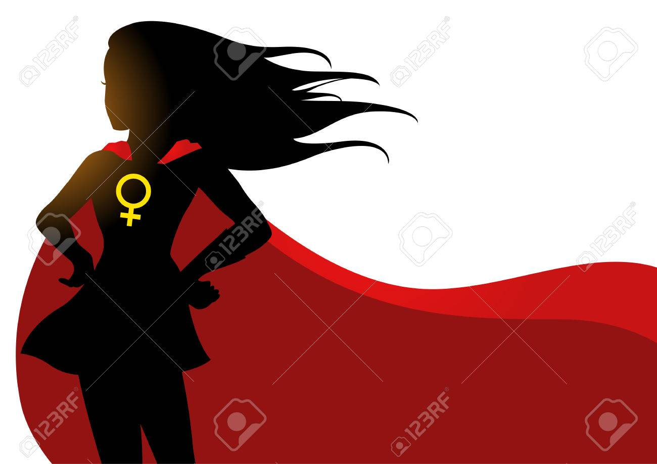 Illustration of a superheroine in red cape with female symbol - 78532691