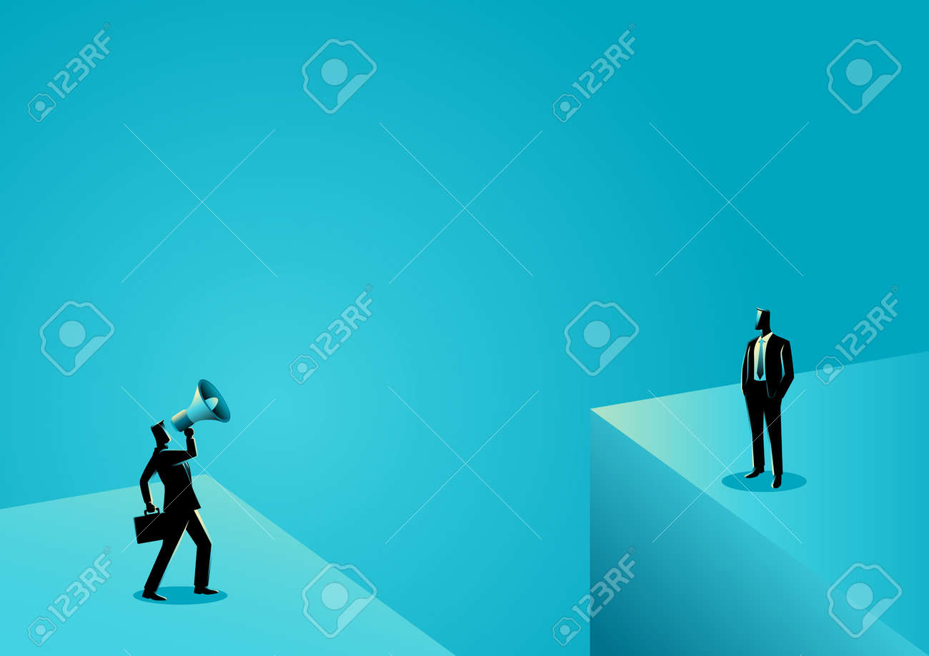Business concept illustration of a businessman shouting to another businessman with megaphone near the abyss - 80444207