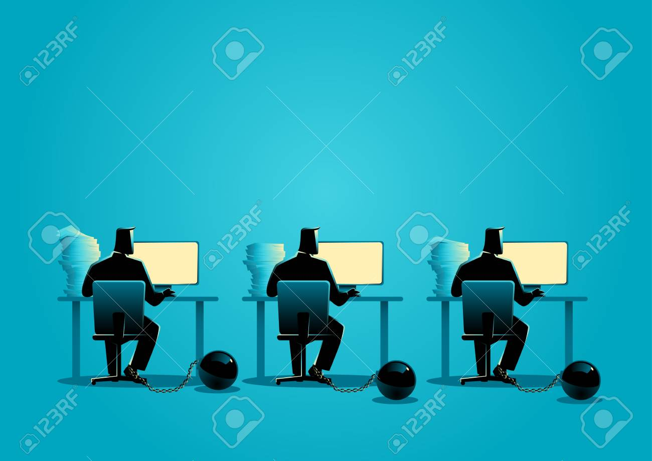 Business concept illustration of businessmen working on computers chained into iron ball - 81642438