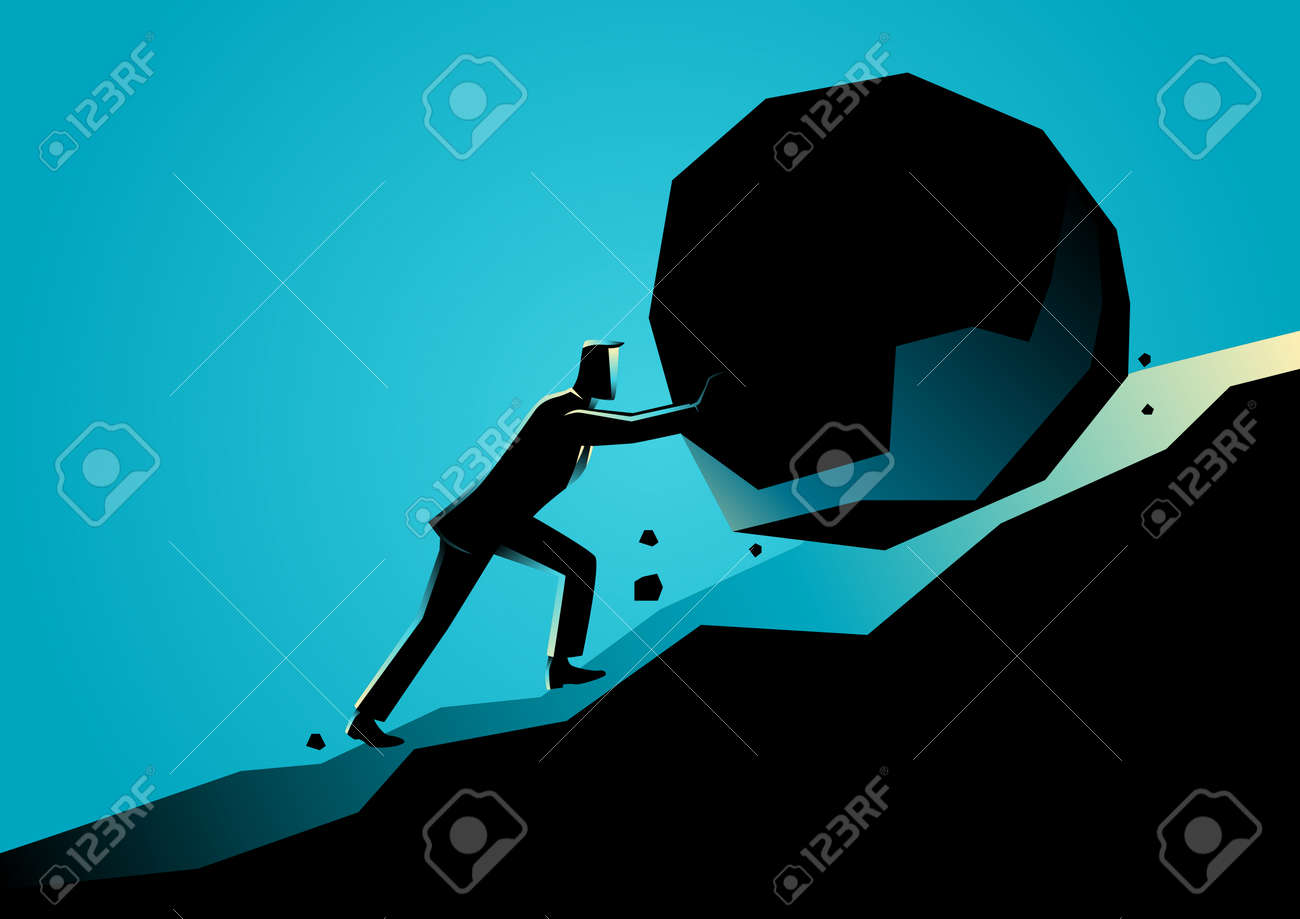 Business concept illustration of a businessman pushing large stone uphill - 85162496