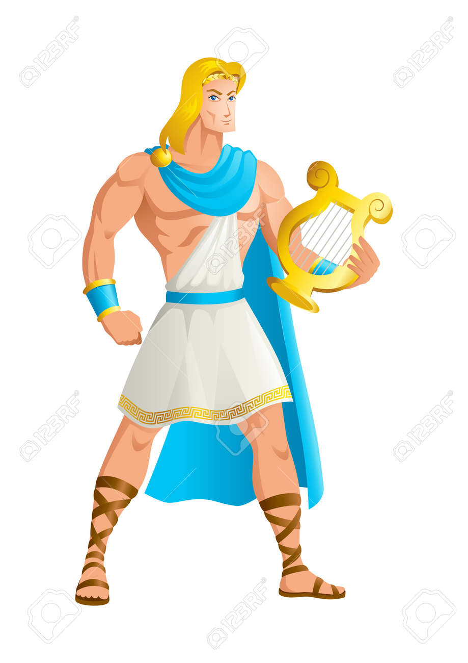 Greek god and goddess vector illustration series, Apollo, the God of music, truth and prophecy, healing, the sun and light, plague, poetry, and more. - 89544645