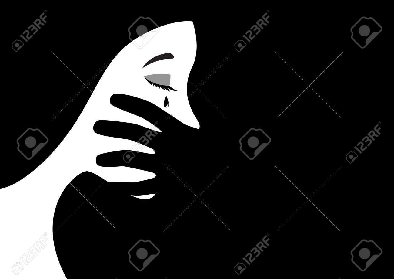 Black and white illustration of a hand covering woman mouth concept for abuse or domestic violence. - 90908765