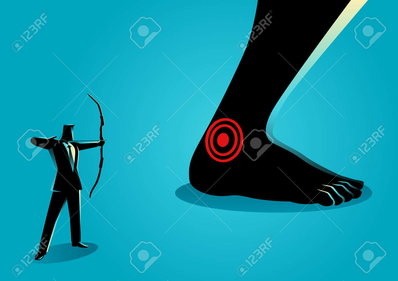 Business concept vector illustration of businessman as an archer aiming giant feet's heel, idiom for Achilles' heel, a weak point or fault in someone or something otherwise perfect or excellent. - 91475934