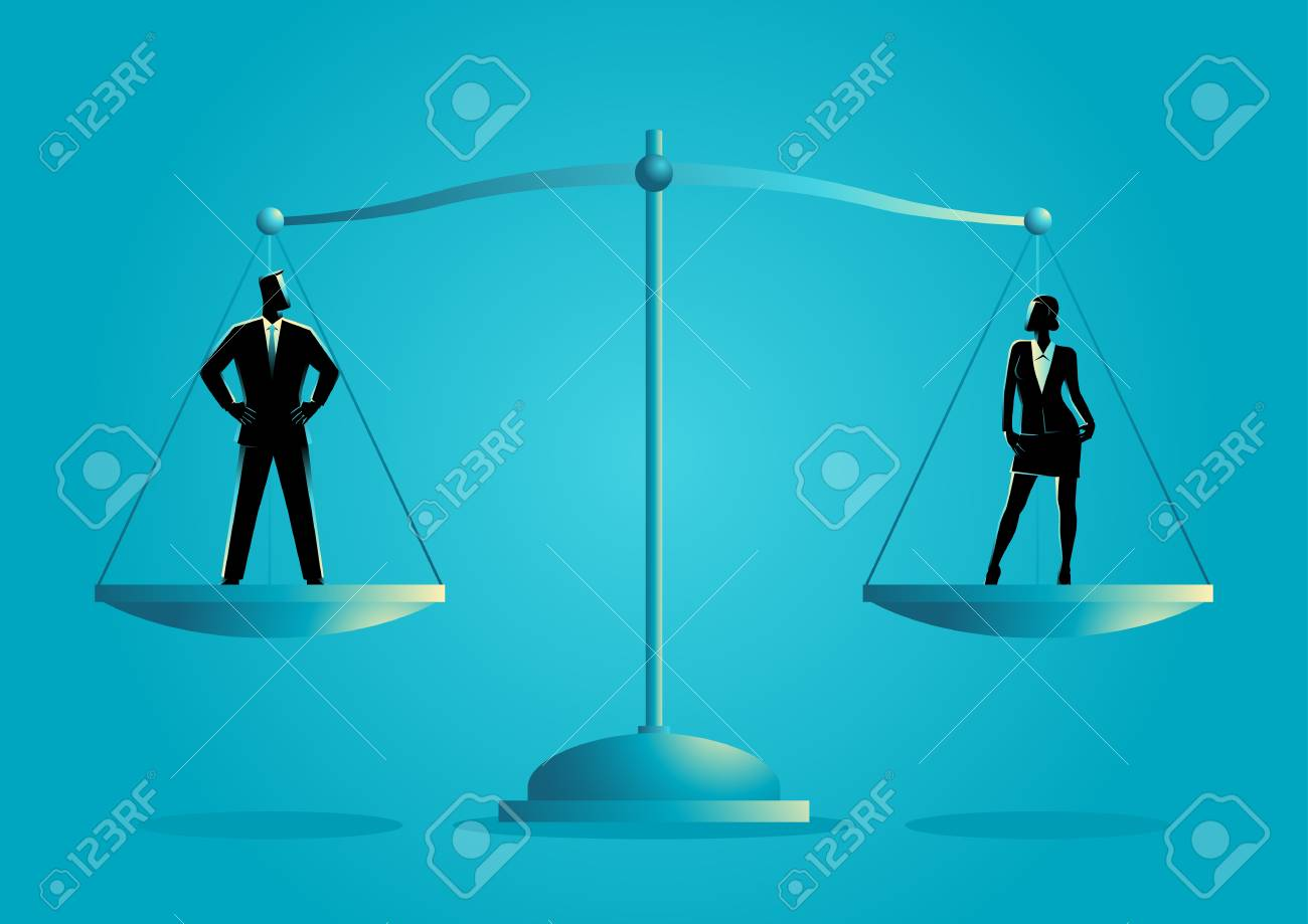 Business concept vector illustration of a businessman and businesswoman standing on a scale. Gender equality concept - 92539182