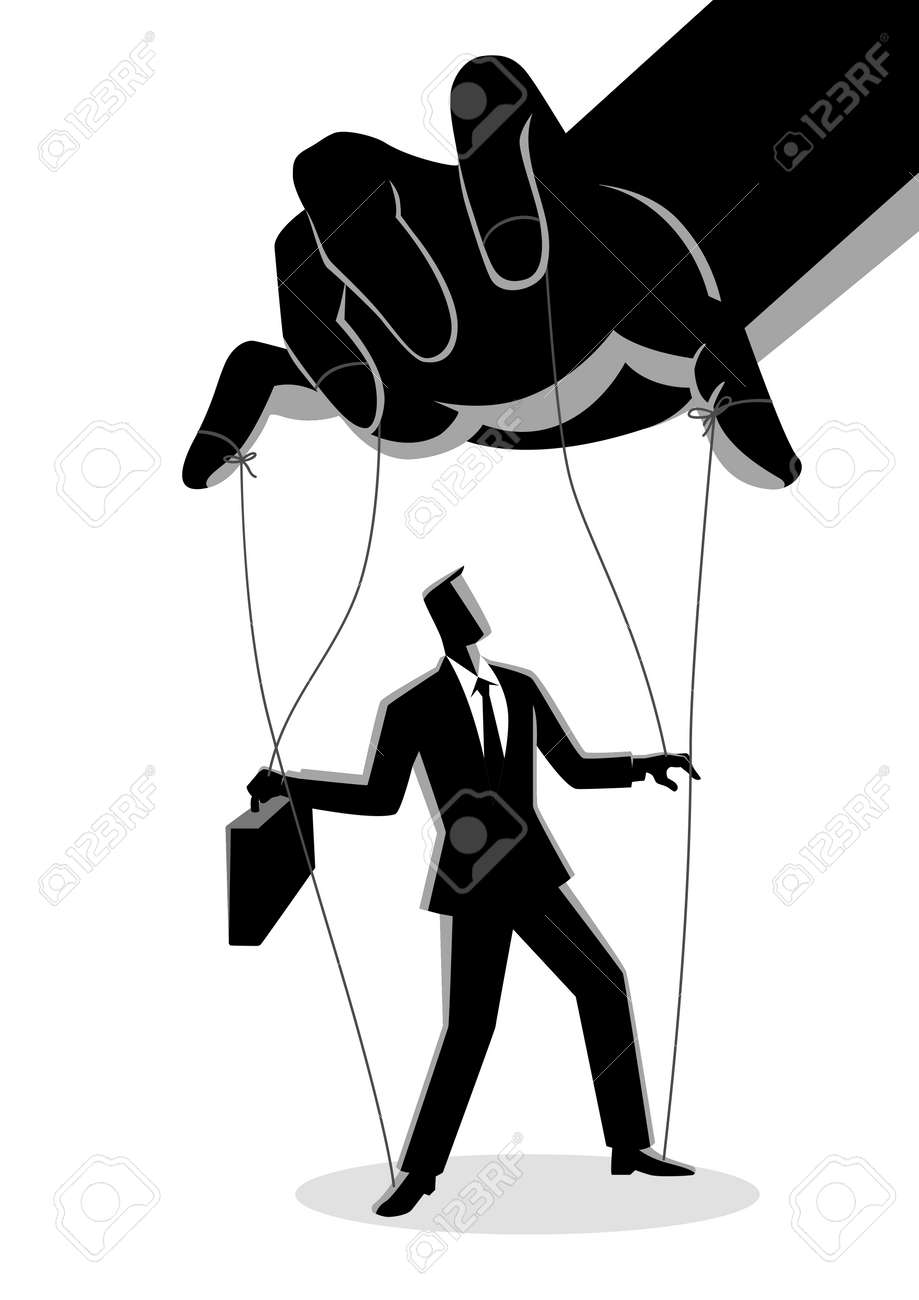 Business concept vector illustration of a businessman being controlled by puppet master - 93213565