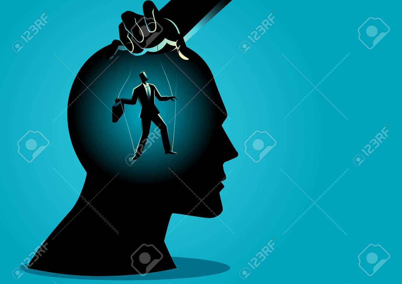 Business concept vector illustration of a puppet master controls mind - 103996423