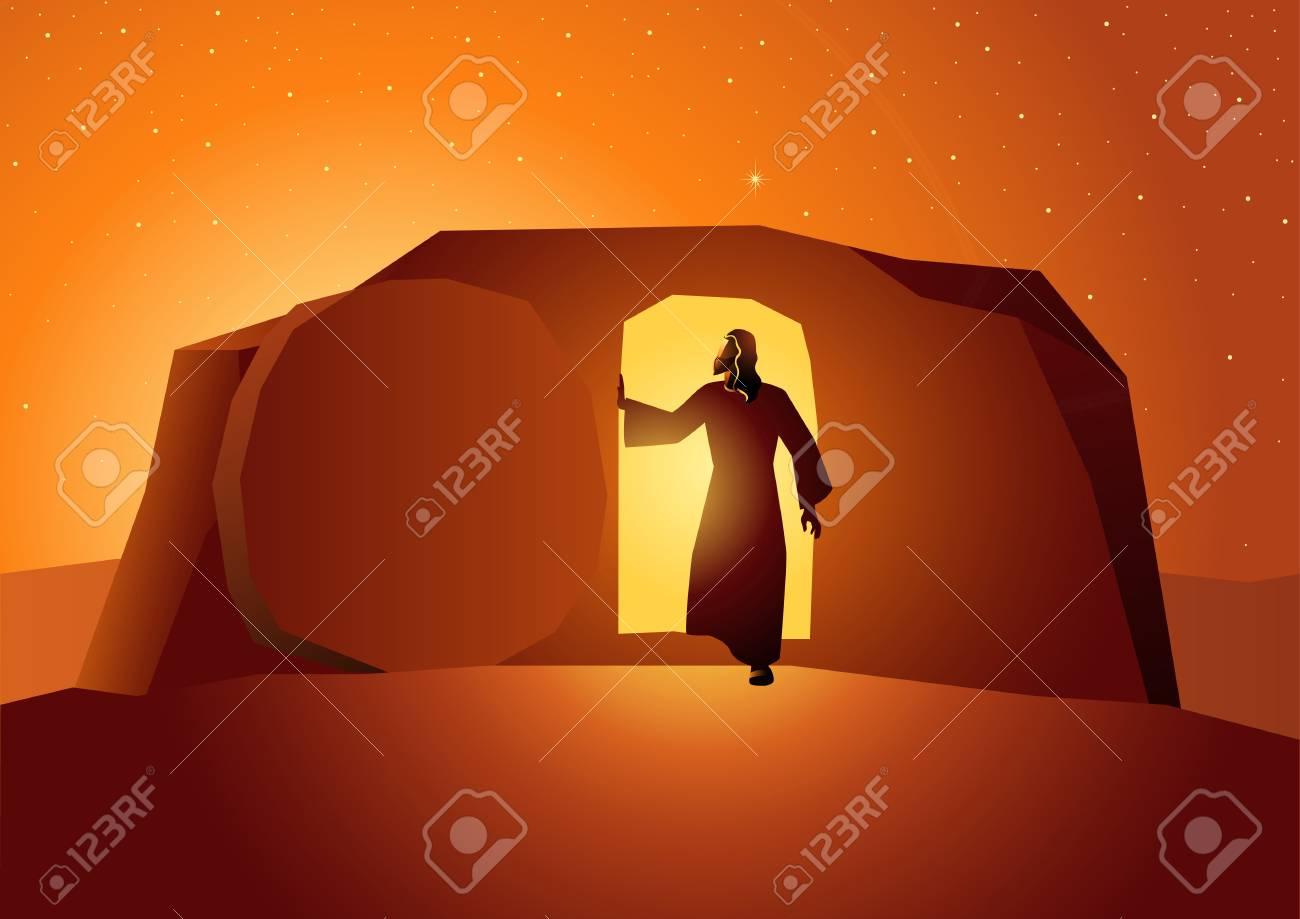 Biblical vector illustration series, the resurrection of Jesus or resurrection of Christ - 103996425
