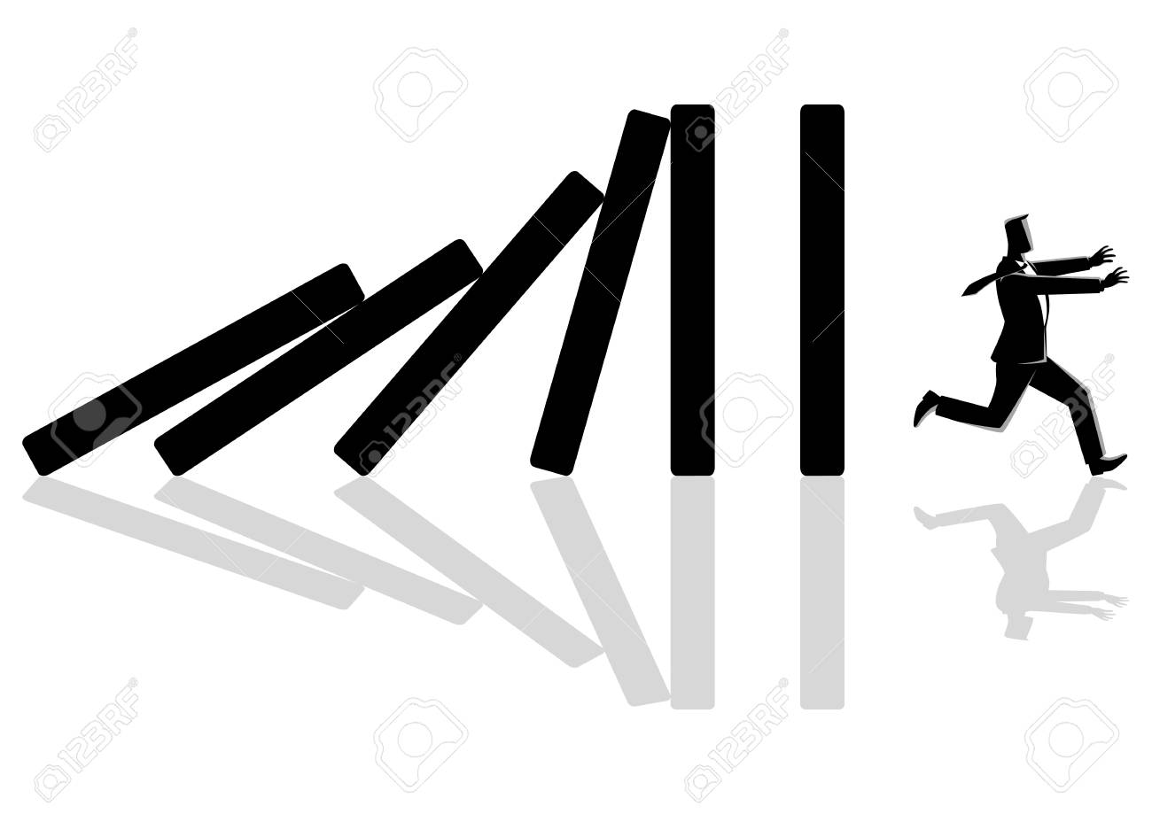Business concept vector illustration of a businessman running away from domino effect - 105171053