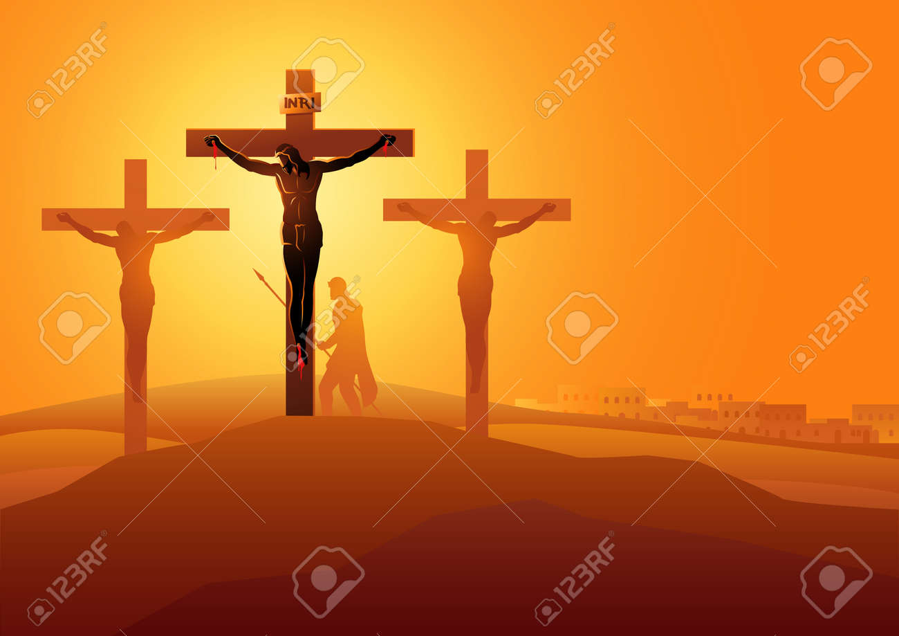 Biblical vector illustration series. Way of the Cross or Stations of the Cross, twelfth station, Jesus Dies On The Cross. - 115726280