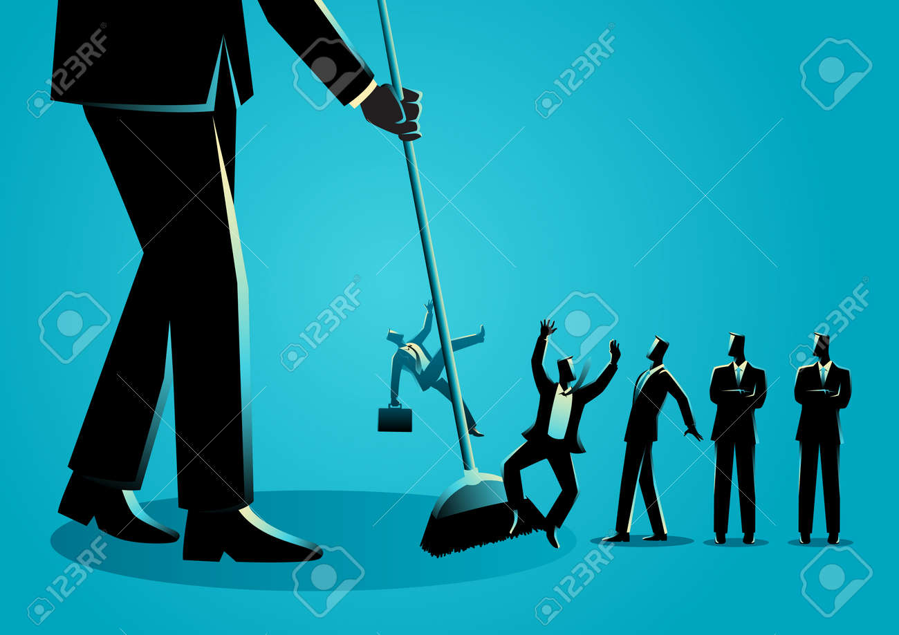 Business concept vector illustration of a businessman sweeping, businessmen being swept by a broom. Downsizing, employee reduction concept - 111923799