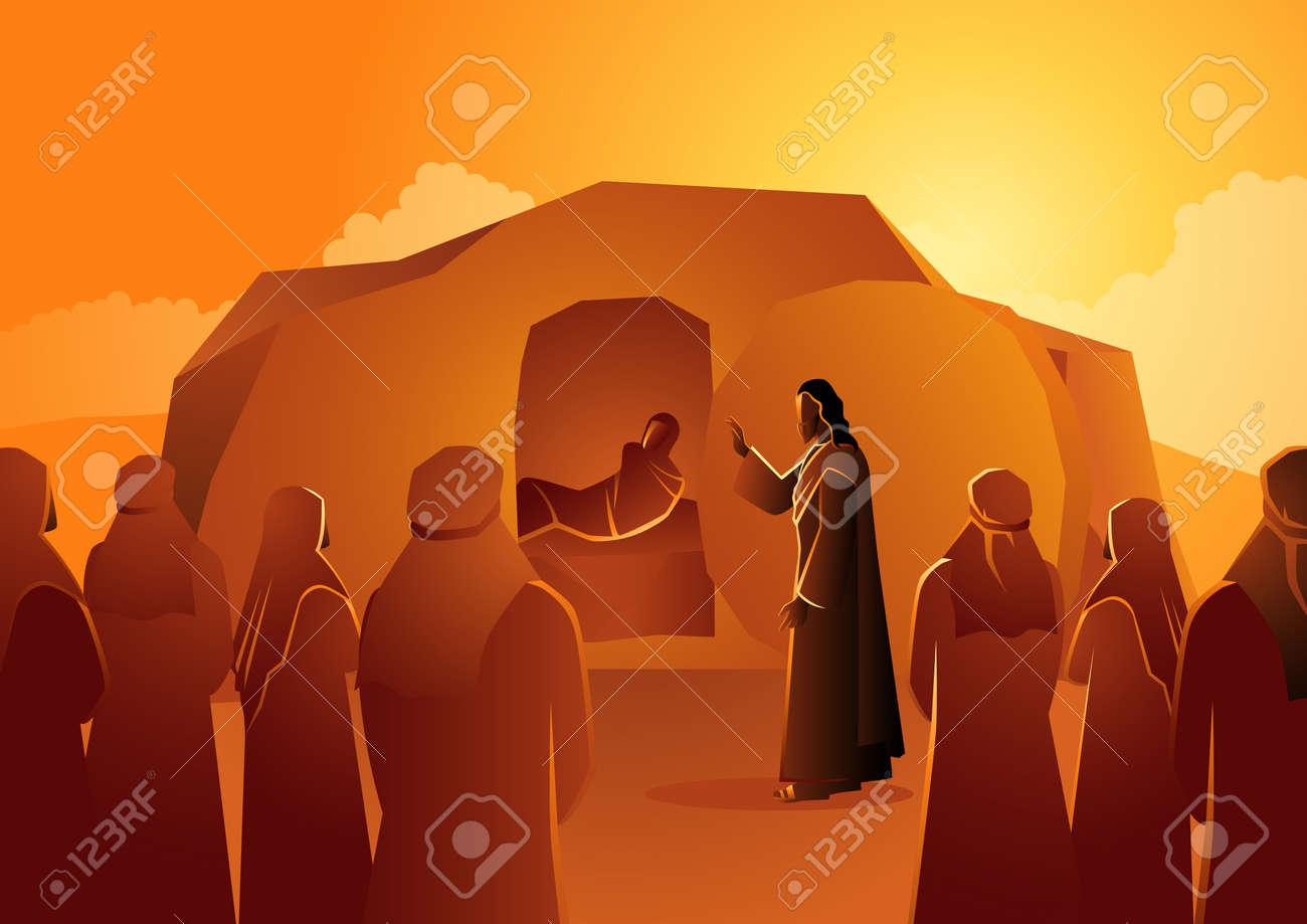 Biblical vector illustration series, Jesus raises Lazarus from the dead - 115726358