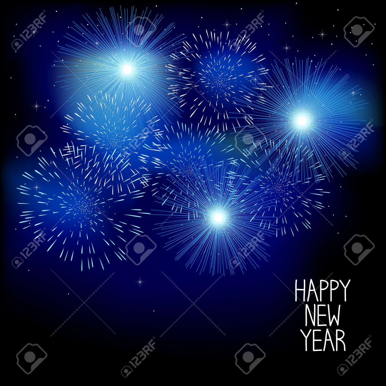 happy new year card with fireworks stock vector 112777033
