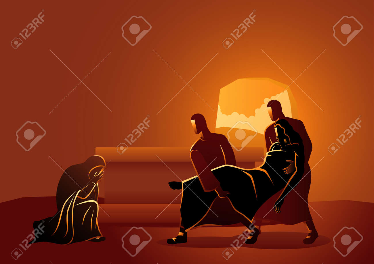 Biblical vector illustration series. Way of the Cross or Stations of the Cross, fourteenth, Jesus is placed in the tomb. - 117626949