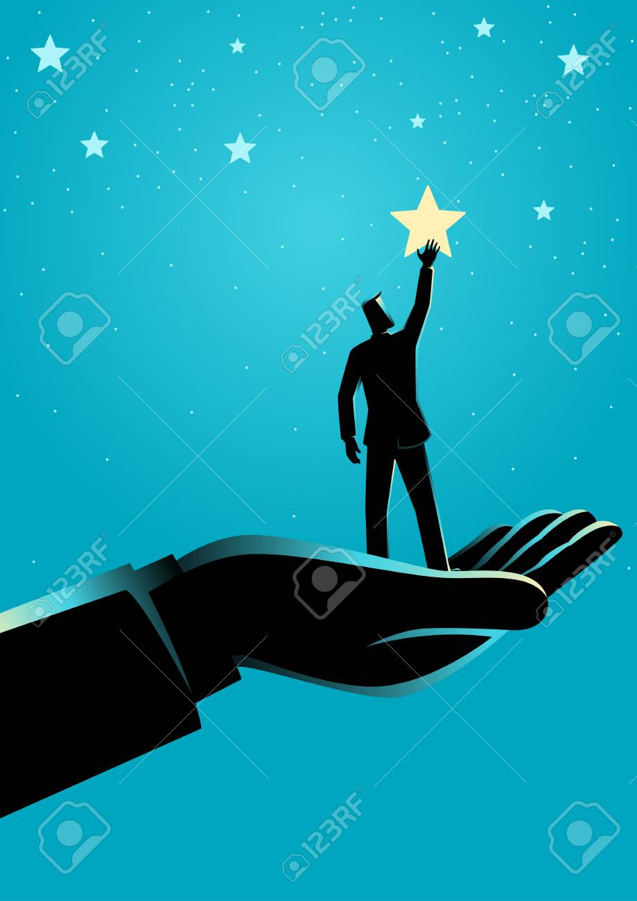 Business concept illustration of giant hand helping a businessman to reach out for the stars - 117626950