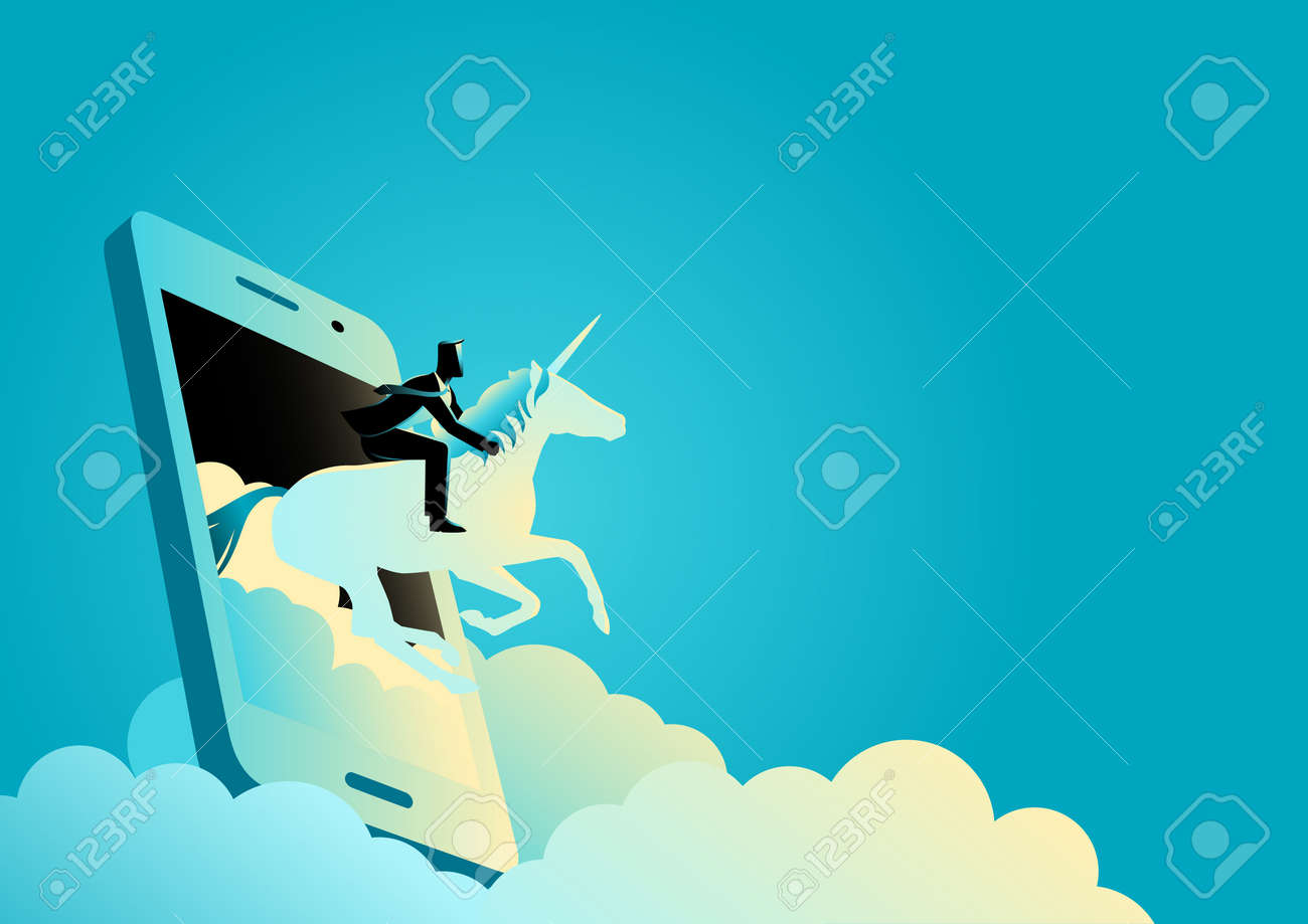 Business concept vector illustration of a businessman riding a unicorn comes out from cellular phone - 118640780
