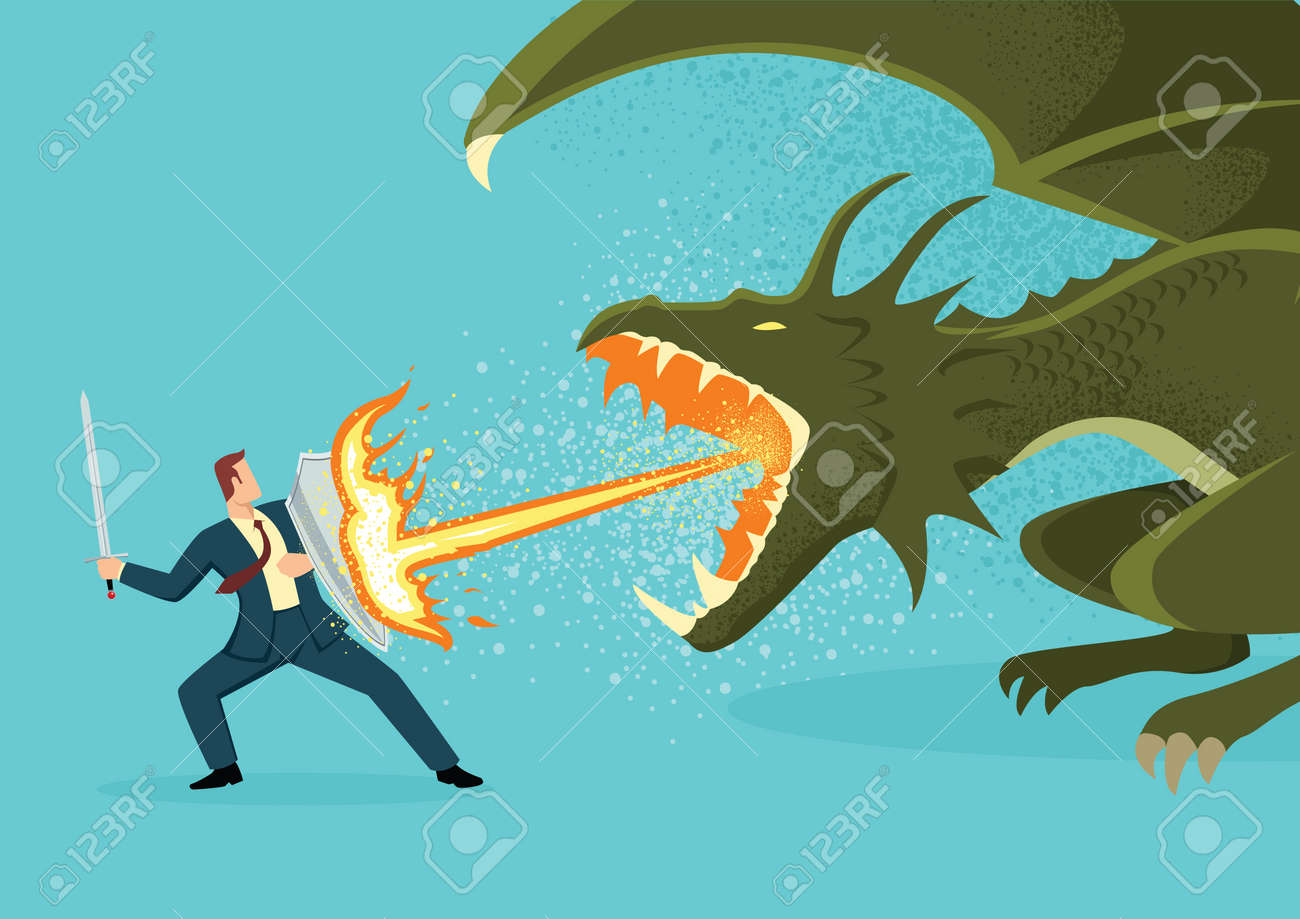 Simple flat vector illustration of a businessman fighting a dragon. Risk, courage, leadership in business concept - 125117510