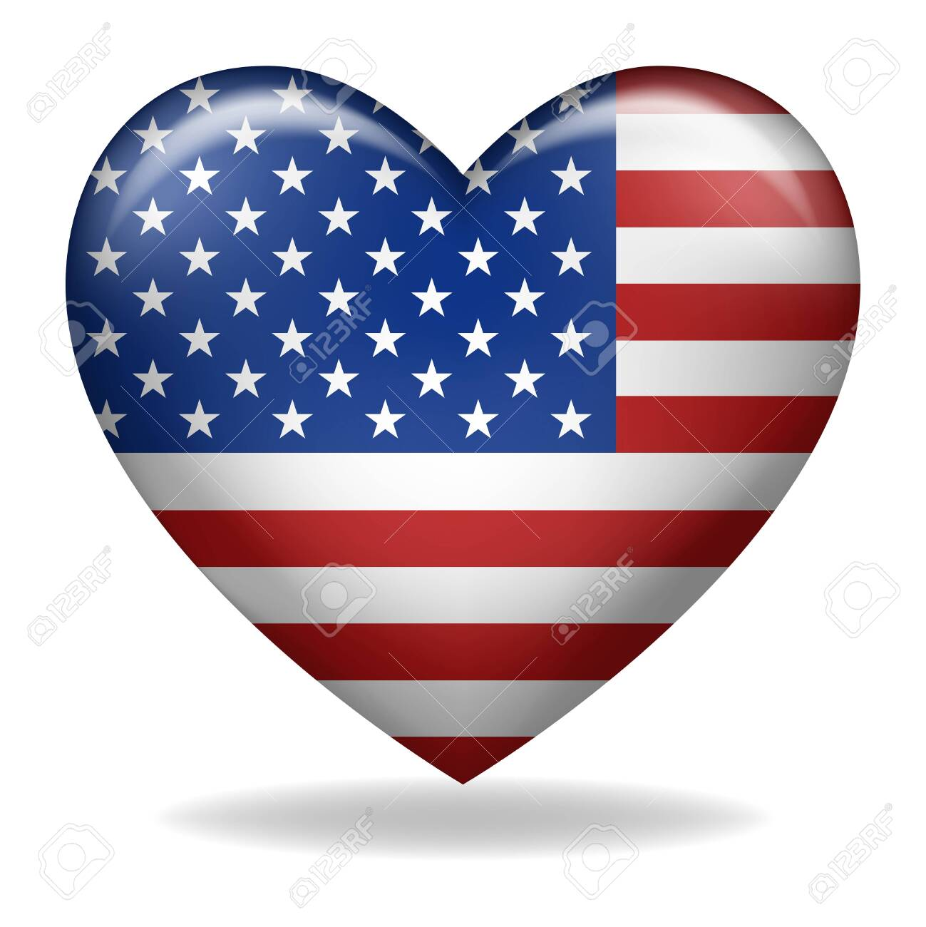 Vector illustration of heart shape of USA insignia isolated on white - 141060720