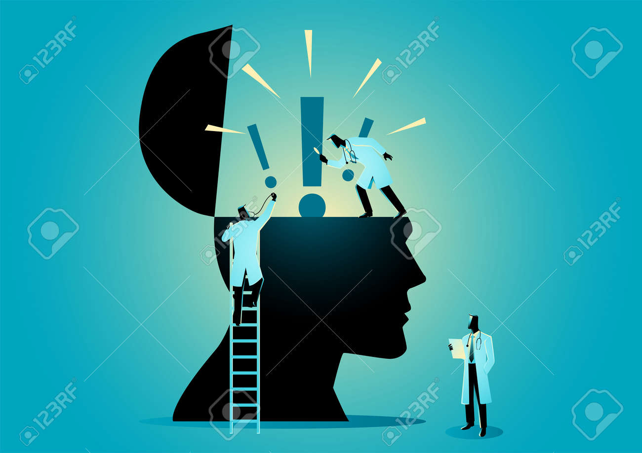 Vector graphic illustration of team of doctors or scientists checking human head icon with exclamation mark, symbolize of anxiety disorder - 142549402