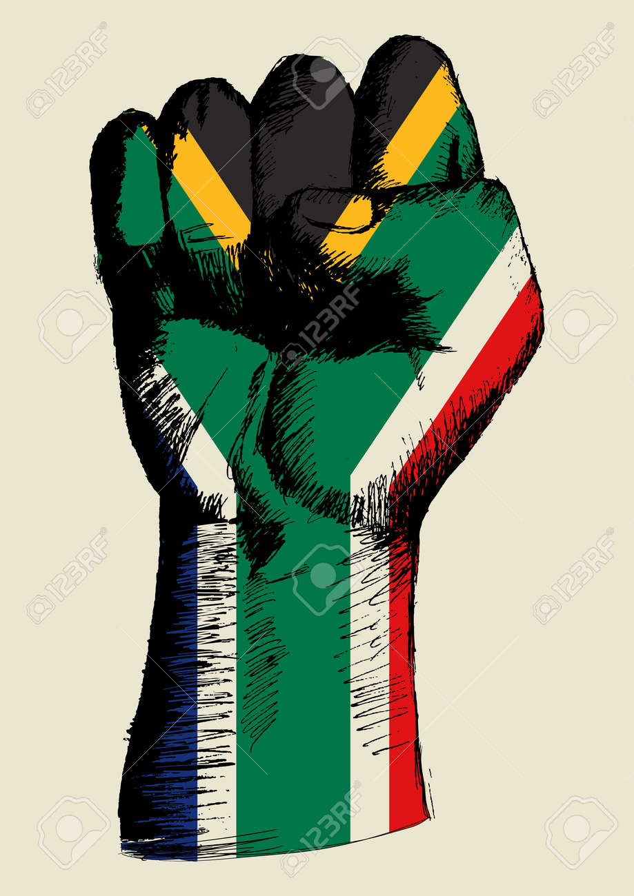 Sketch illustration of a fist with South Africa insignia - 144675666