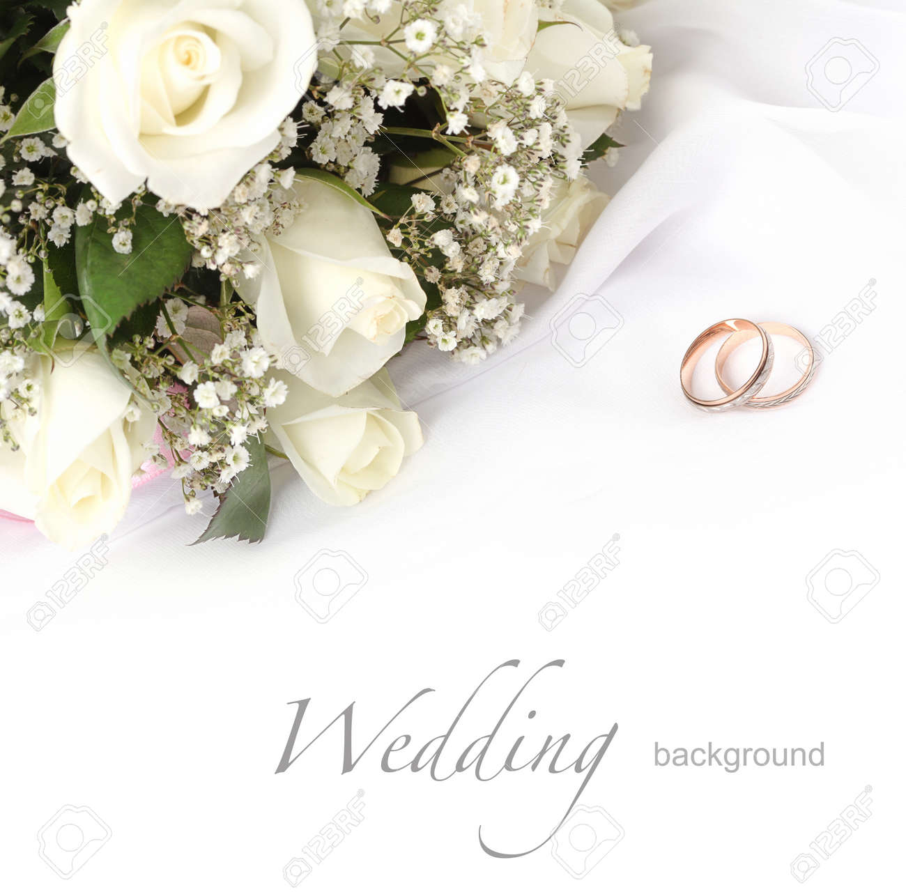 white photo of bouquet on stock wedding with composition depositphotos by rings roses background blurred
