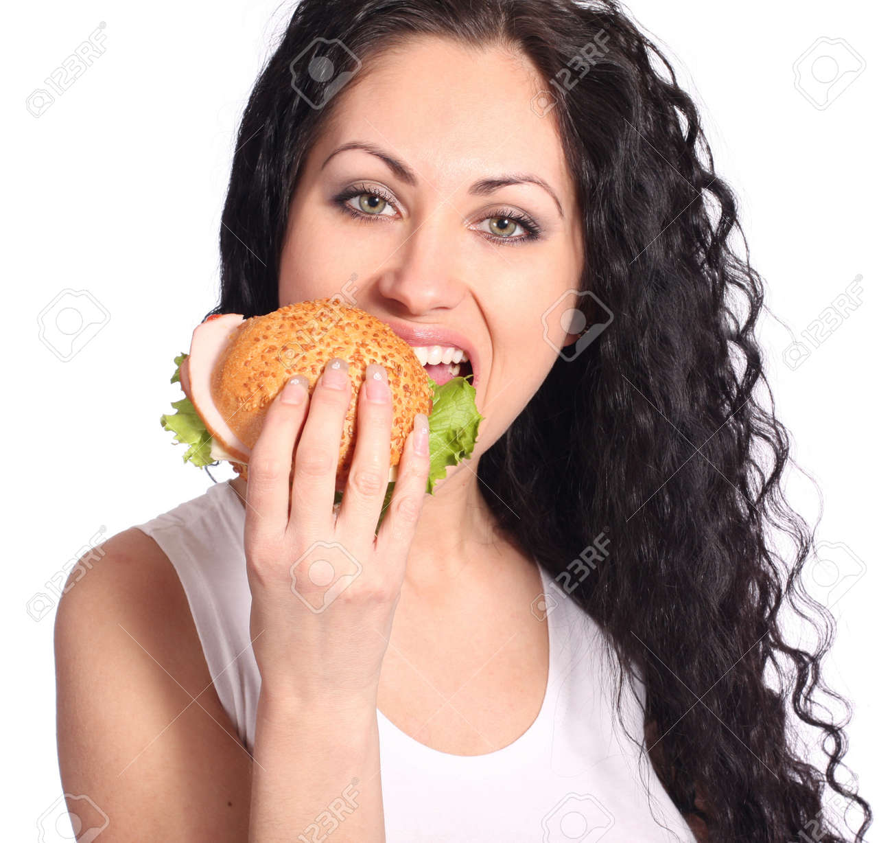 woman with hamburger Stock Photo - 9072208